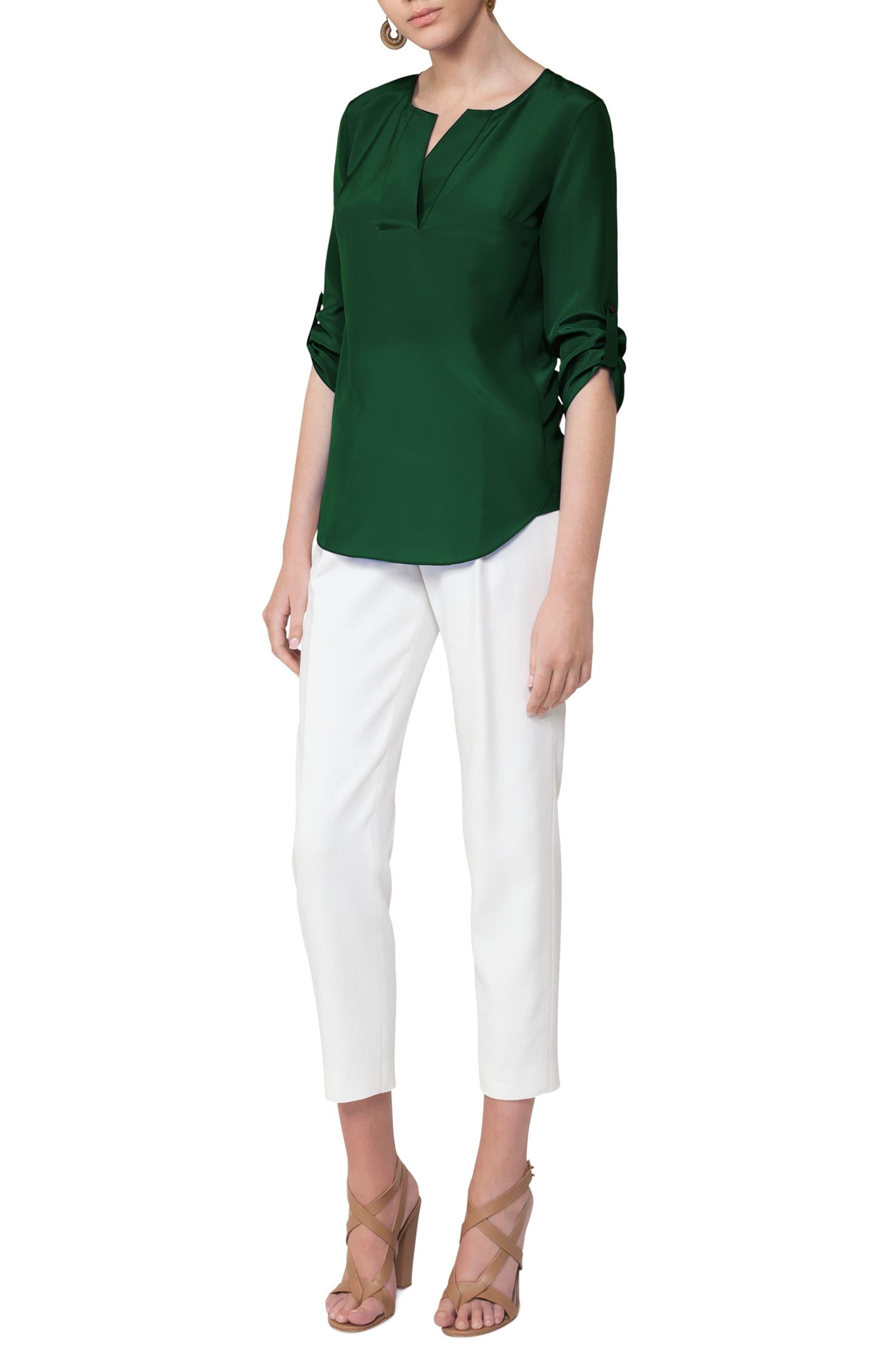 Silk Blouse,                             Alternate thumbnail 3, color,                             Emerald