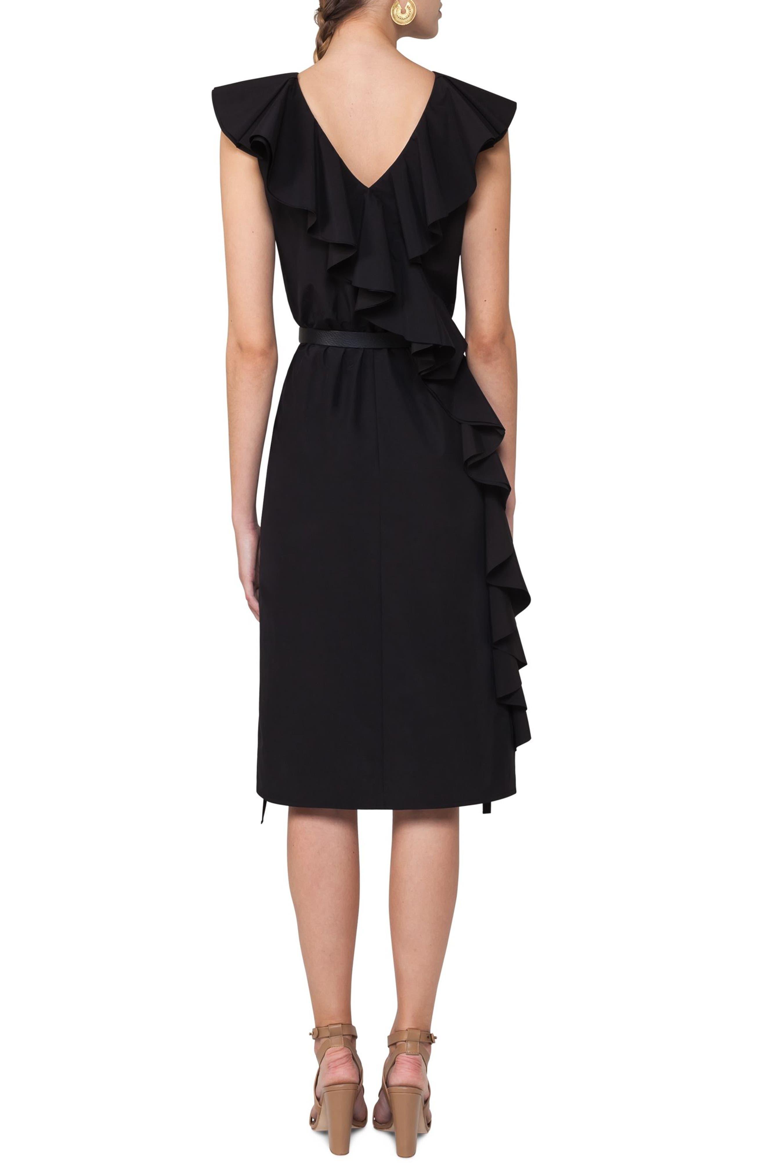 Ruffle Shift Dress,                             Alternate thumbnail 2, color,                             Black