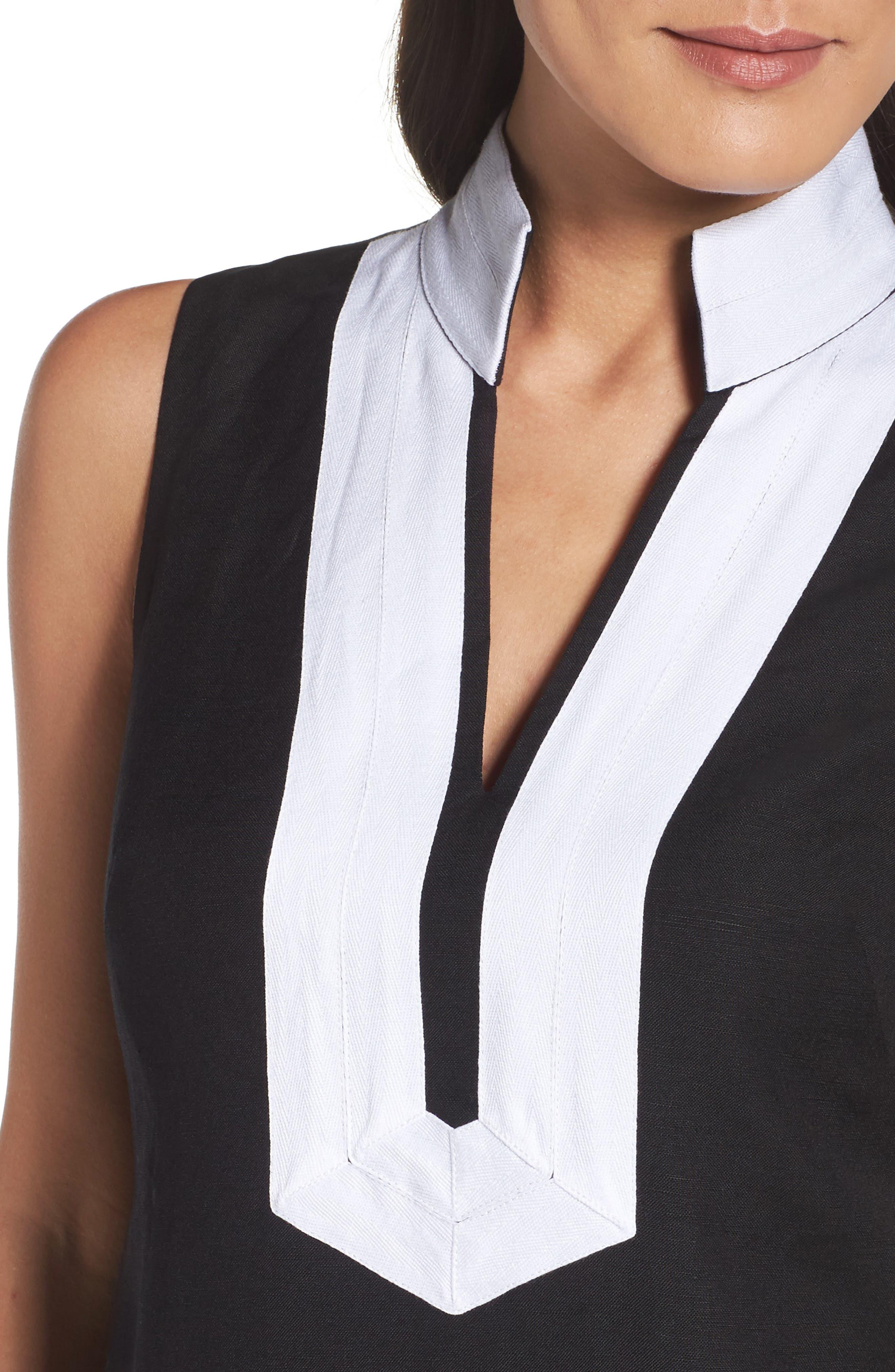 Linen Blend Sheath Dress,                             Alternate thumbnail 4, color,                             Black/ Ivory