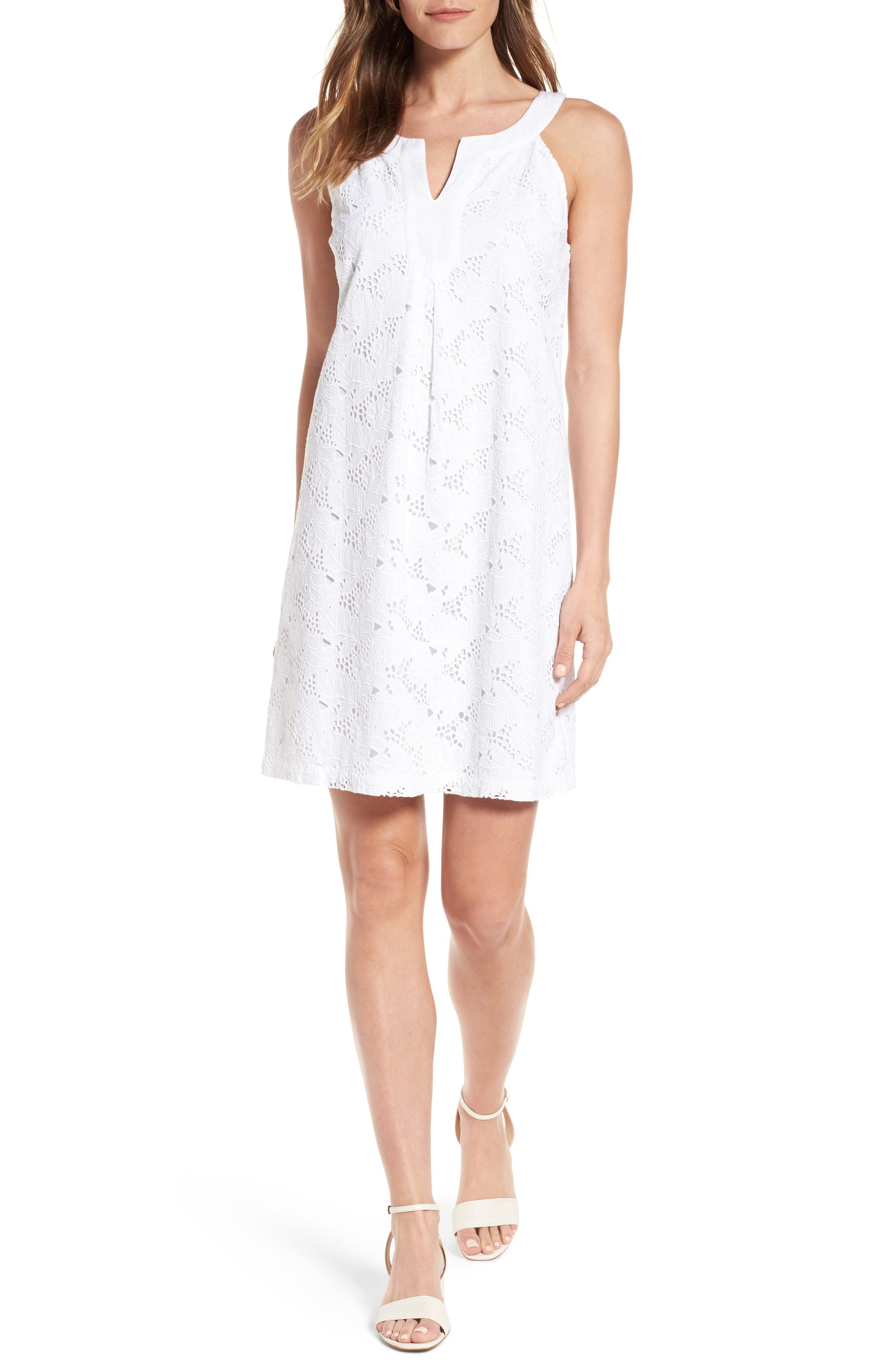 Eyelet Cotton Shift Dress,                         Main,                         color, White