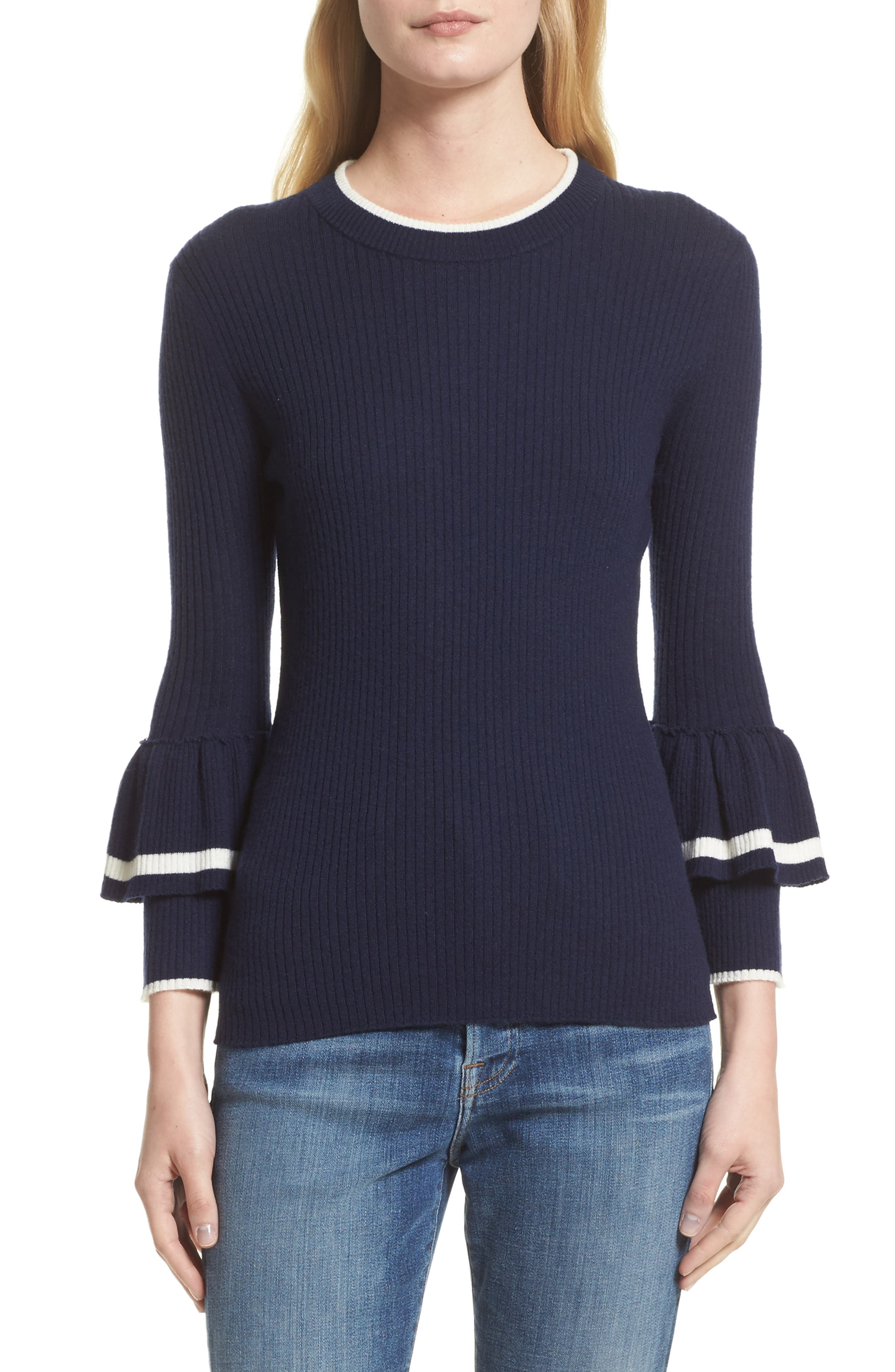 FRAME Double Ruffle Cuff Sweater