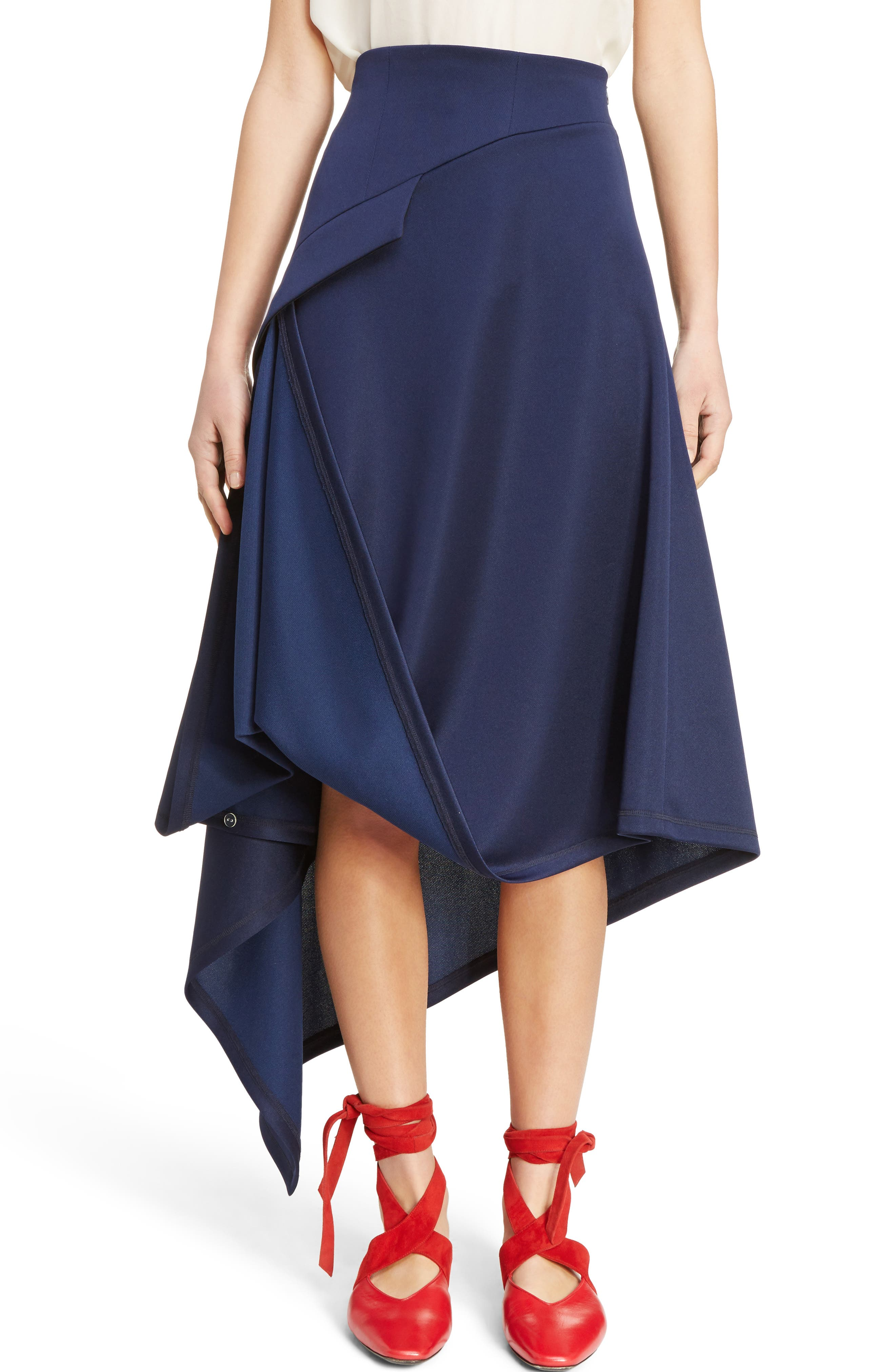 J.W.ANDERSON Side Button Asymmetrical Skirt,                         Main,                         color, Midnight Blue