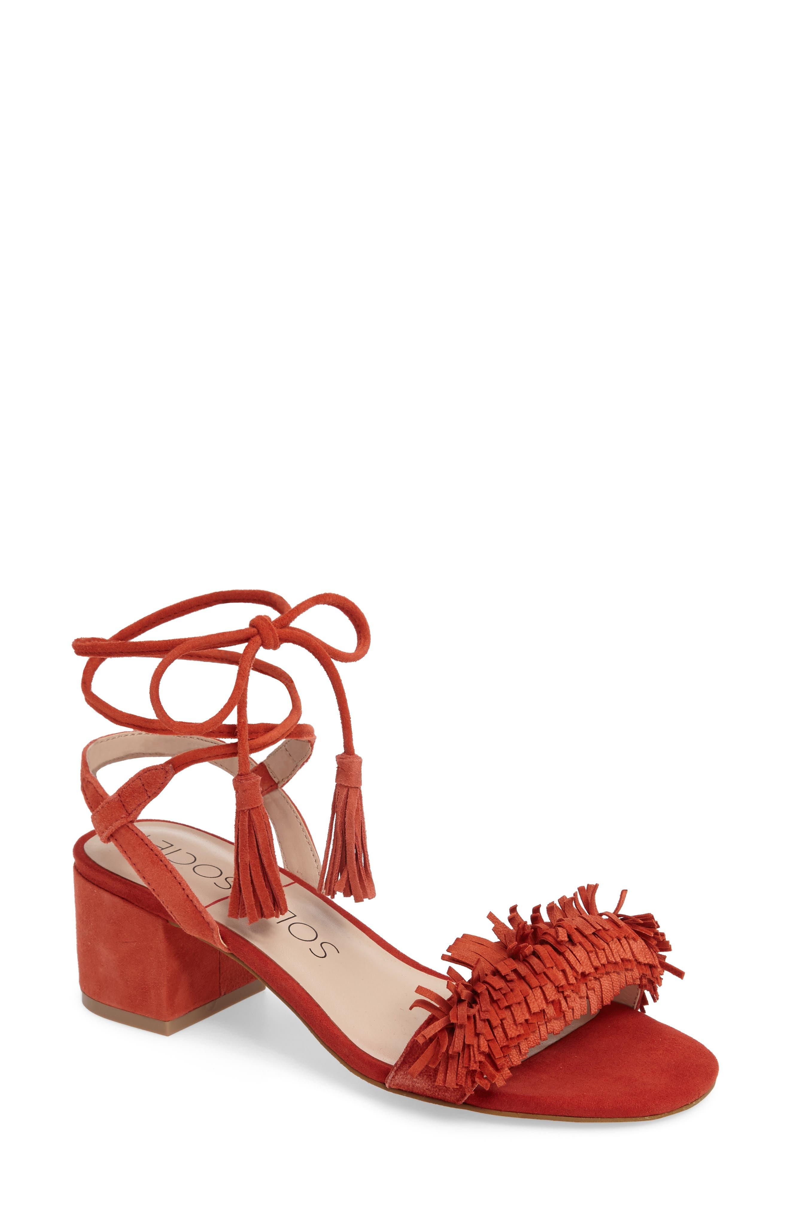 Alternate Image 1 Selected - Sole Society Sera Wraparound Fringe Sandal (Women)