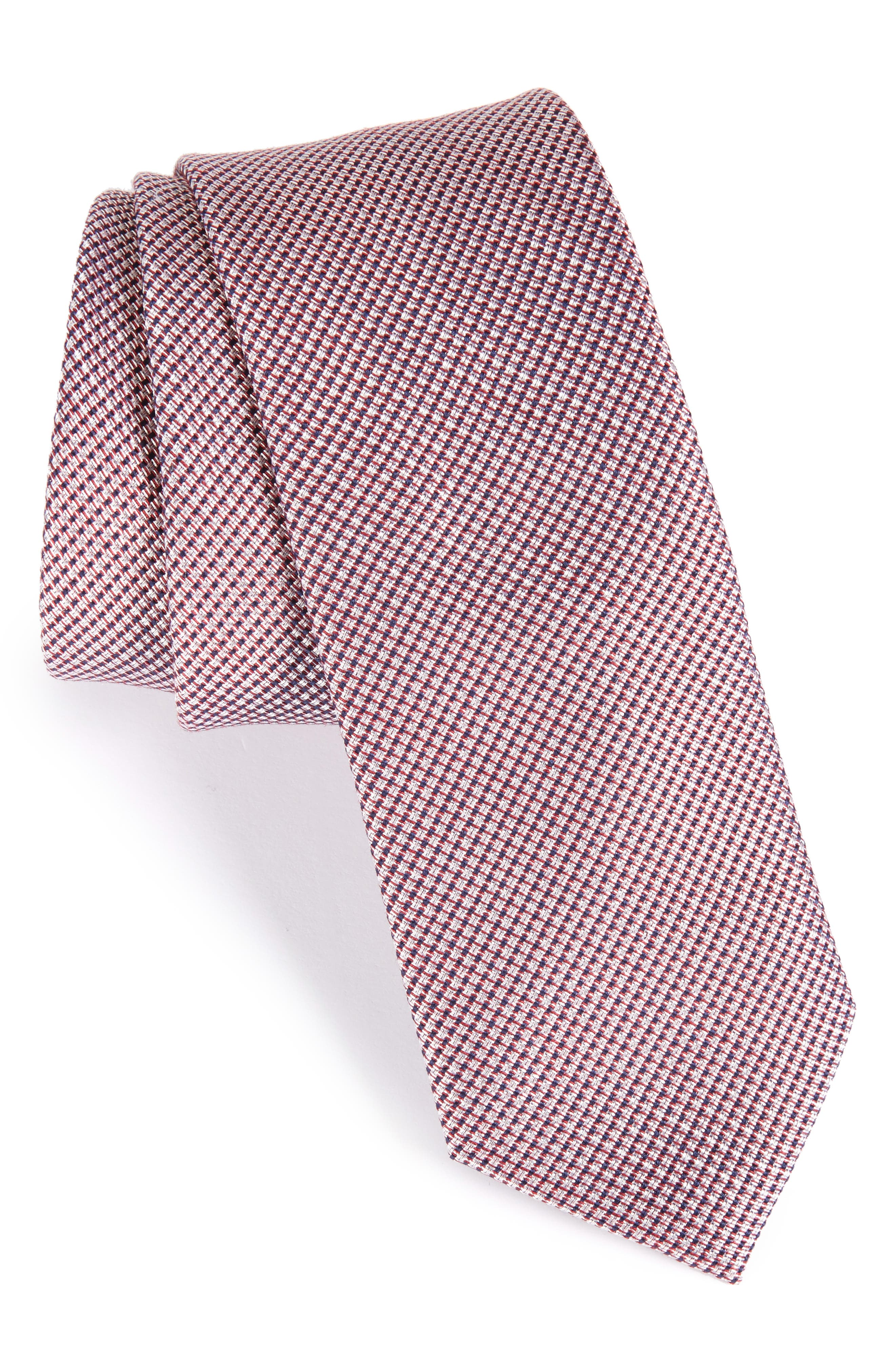 Alternate Image 1 Selected - Nordstrom Men's Shop Solid Silk & Cotton Skinny Tie
