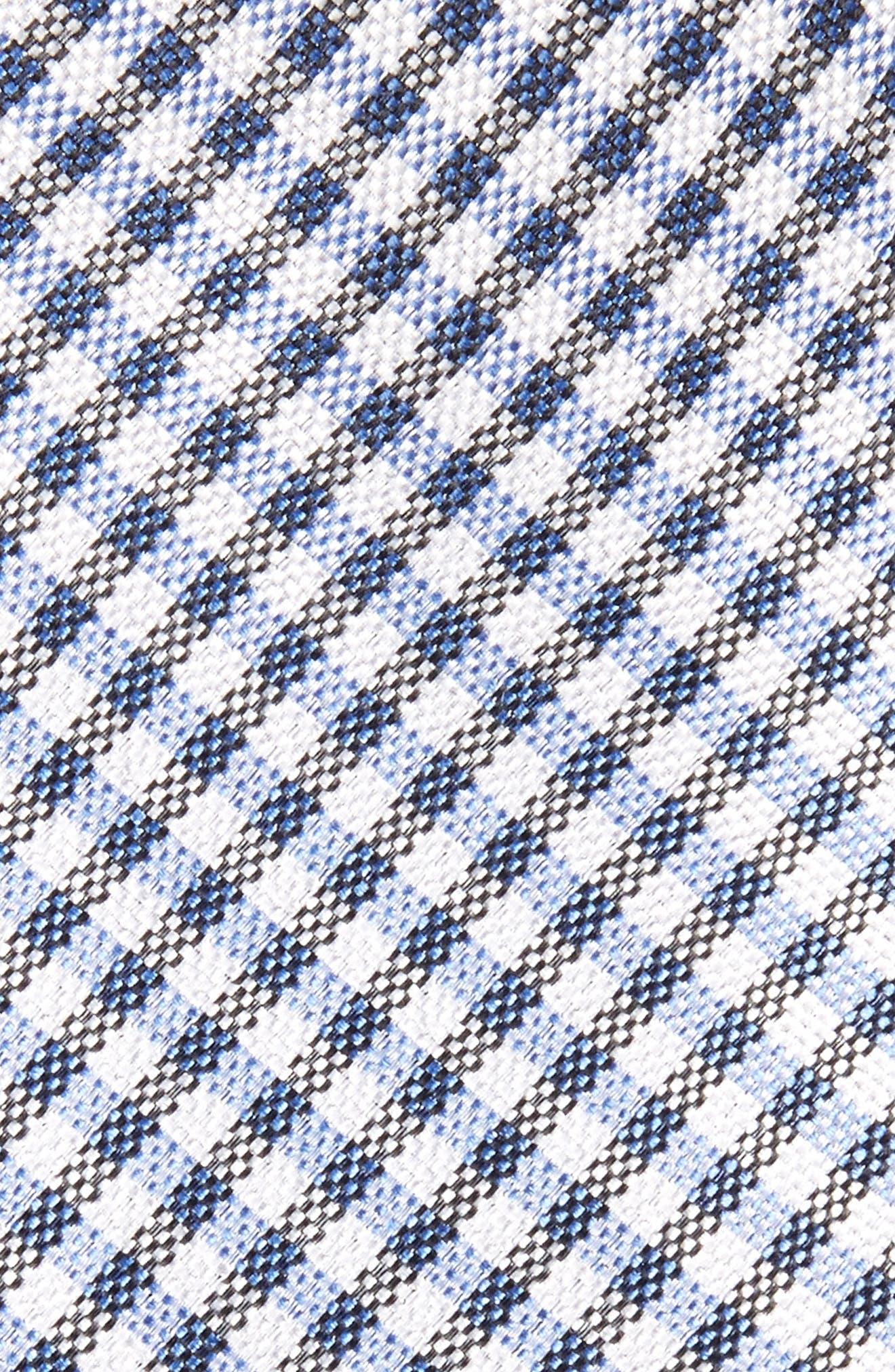Check Silk Skinny Tie,                             Alternate thumbnail 2, color,                             Blue