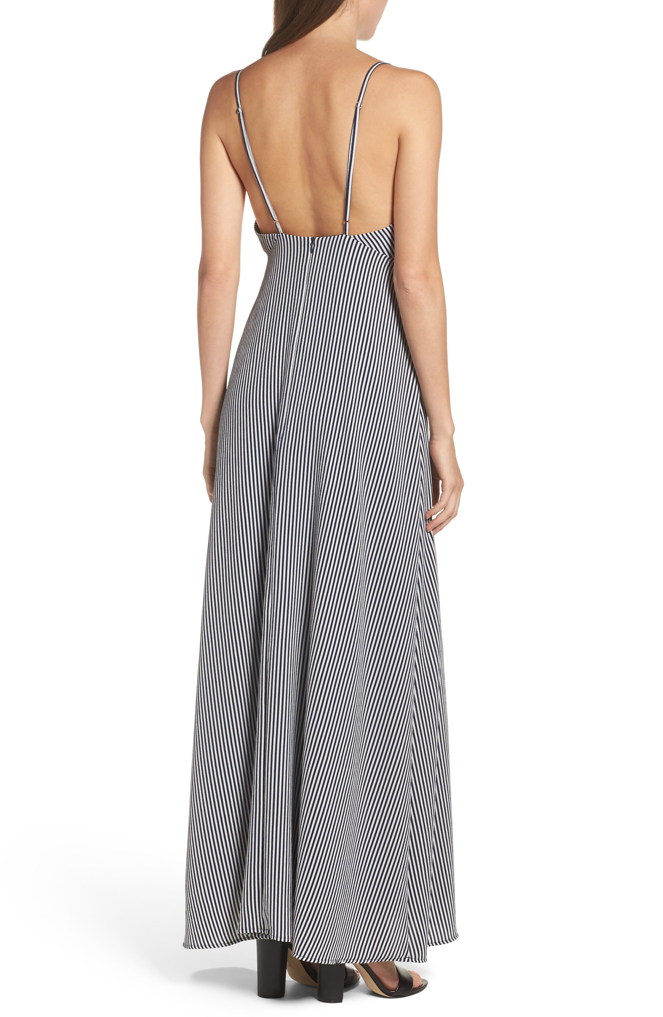 Stripe Stretch Maxi Dress,                             Alternate thumbnail 2, color,                             Navy