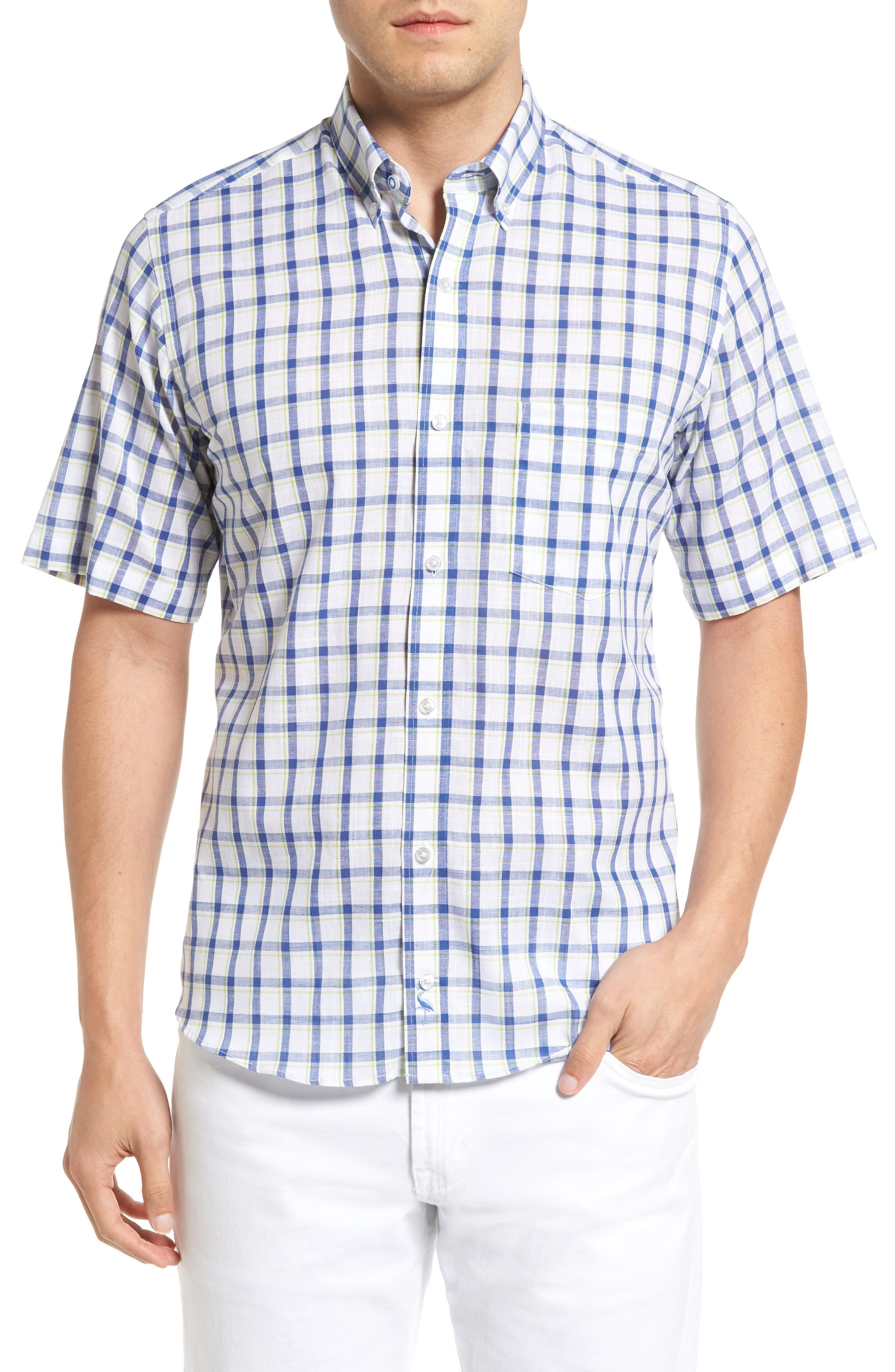Main Image - Tailorbyrd Manila Regular Fit Short Sleeve Plaid Sport Shirt