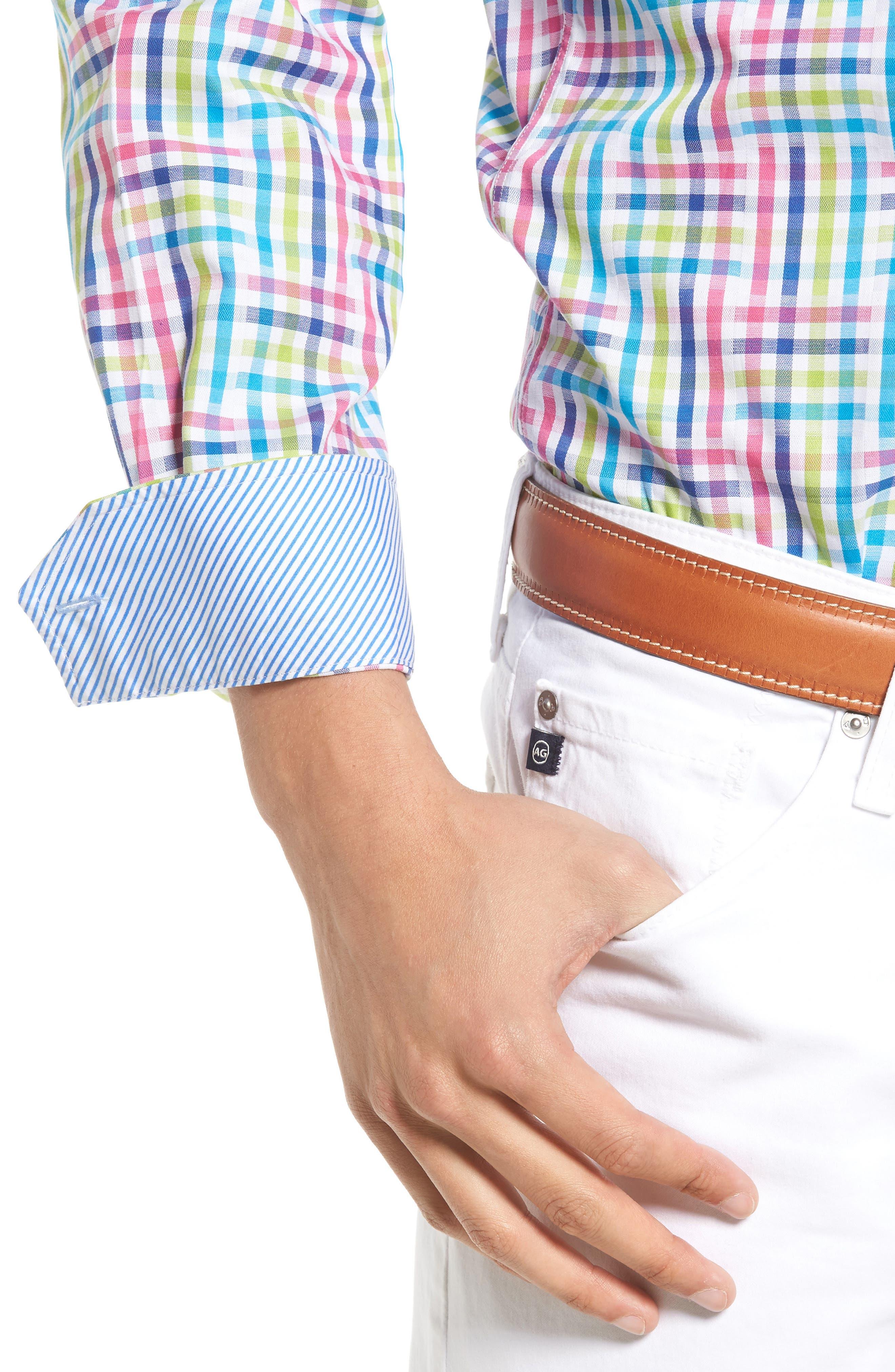 Cliffrose Regular Fit Buffalo Check Sport Shirt,                             Alternate thumbnail 5, color,                             Pink