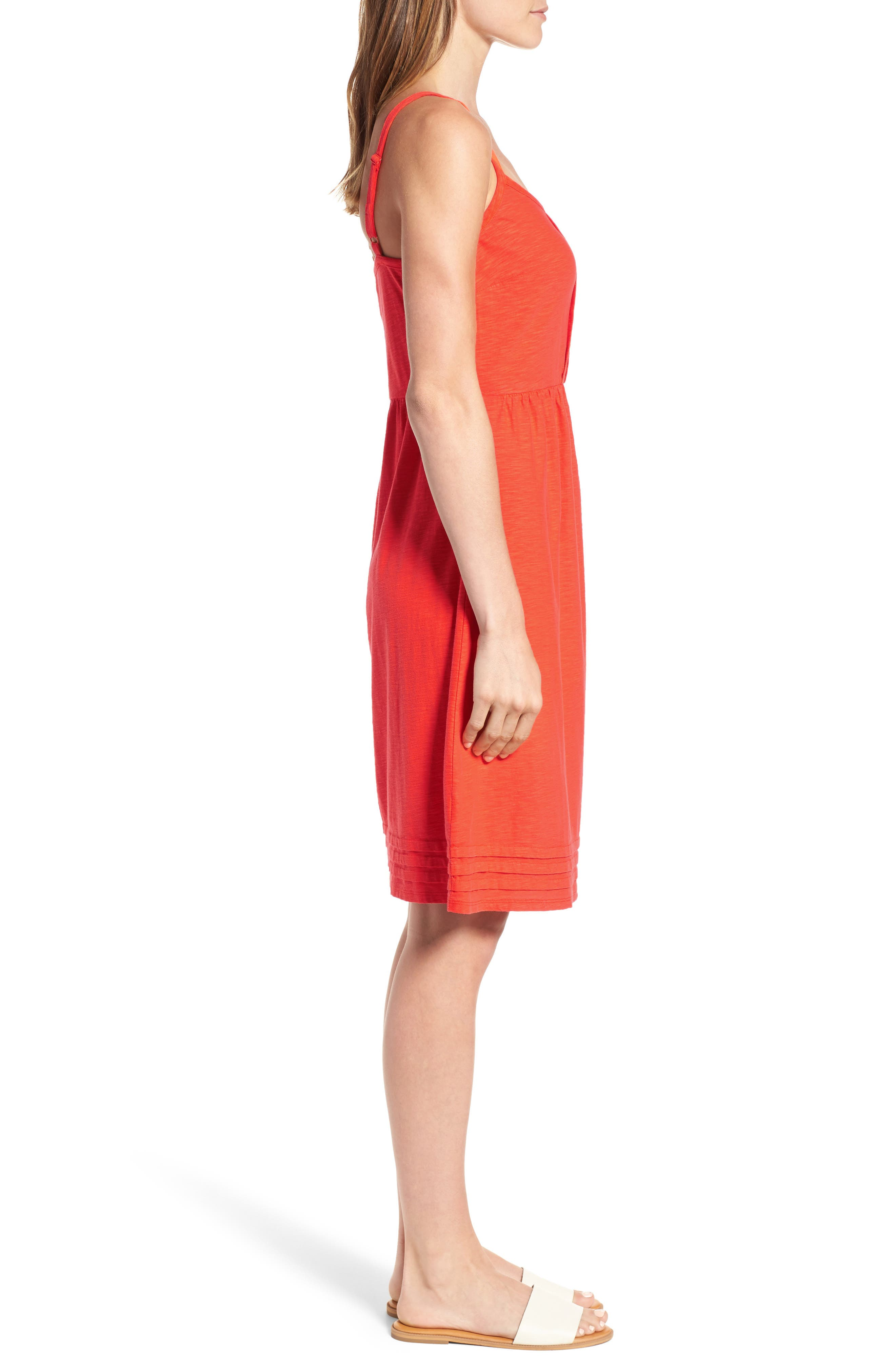 Arden Pleat Jersey Sundress,                             Alternate thumbnail 3, color,                             Blazing Orange