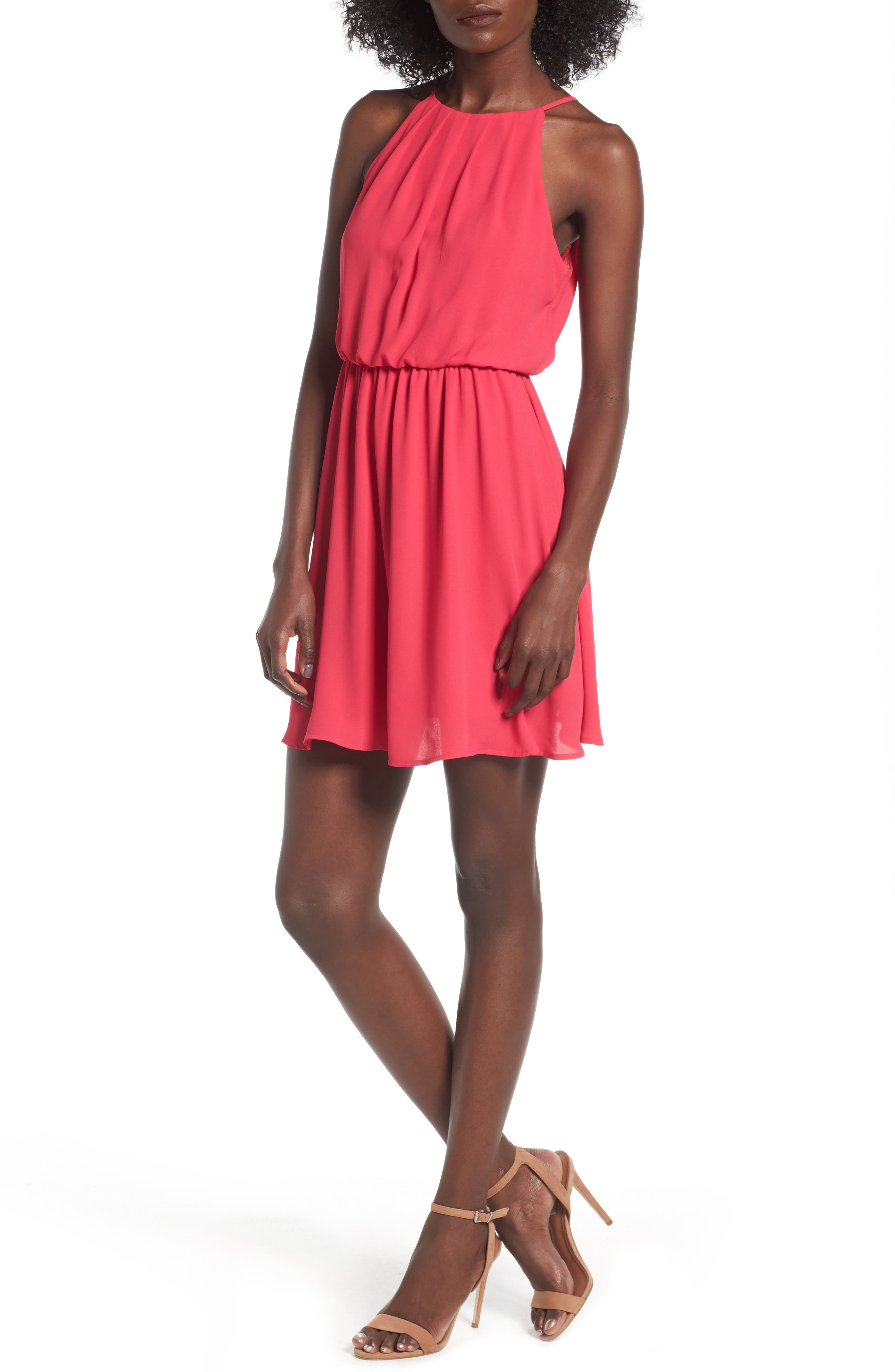 Main Image - Blouson Chiffon Skater Dress
