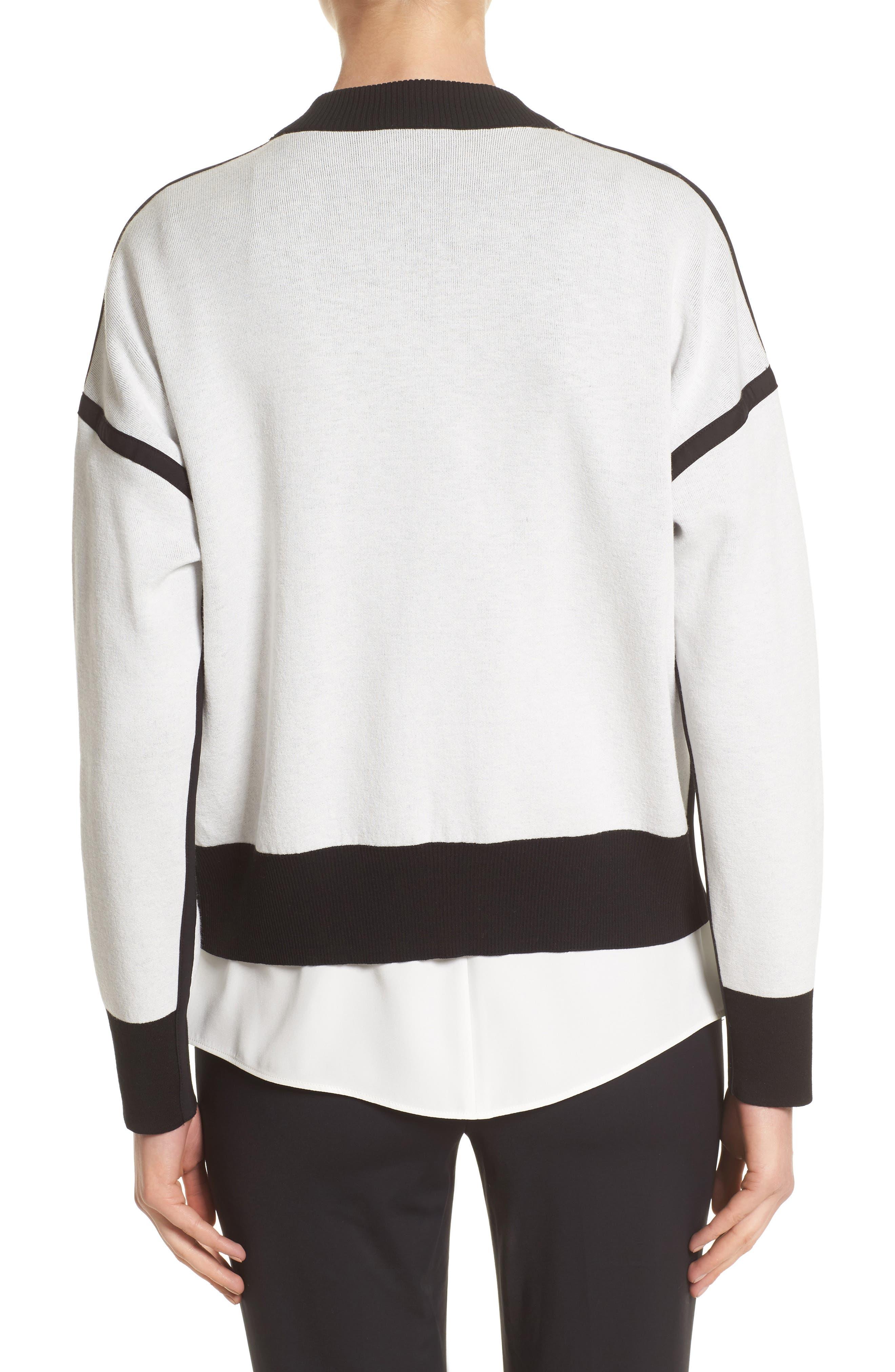 Matte Crepe Reversible Knit Bomber Jacket,                             Alternate thumbnail 3, color,                             Cloud / Black