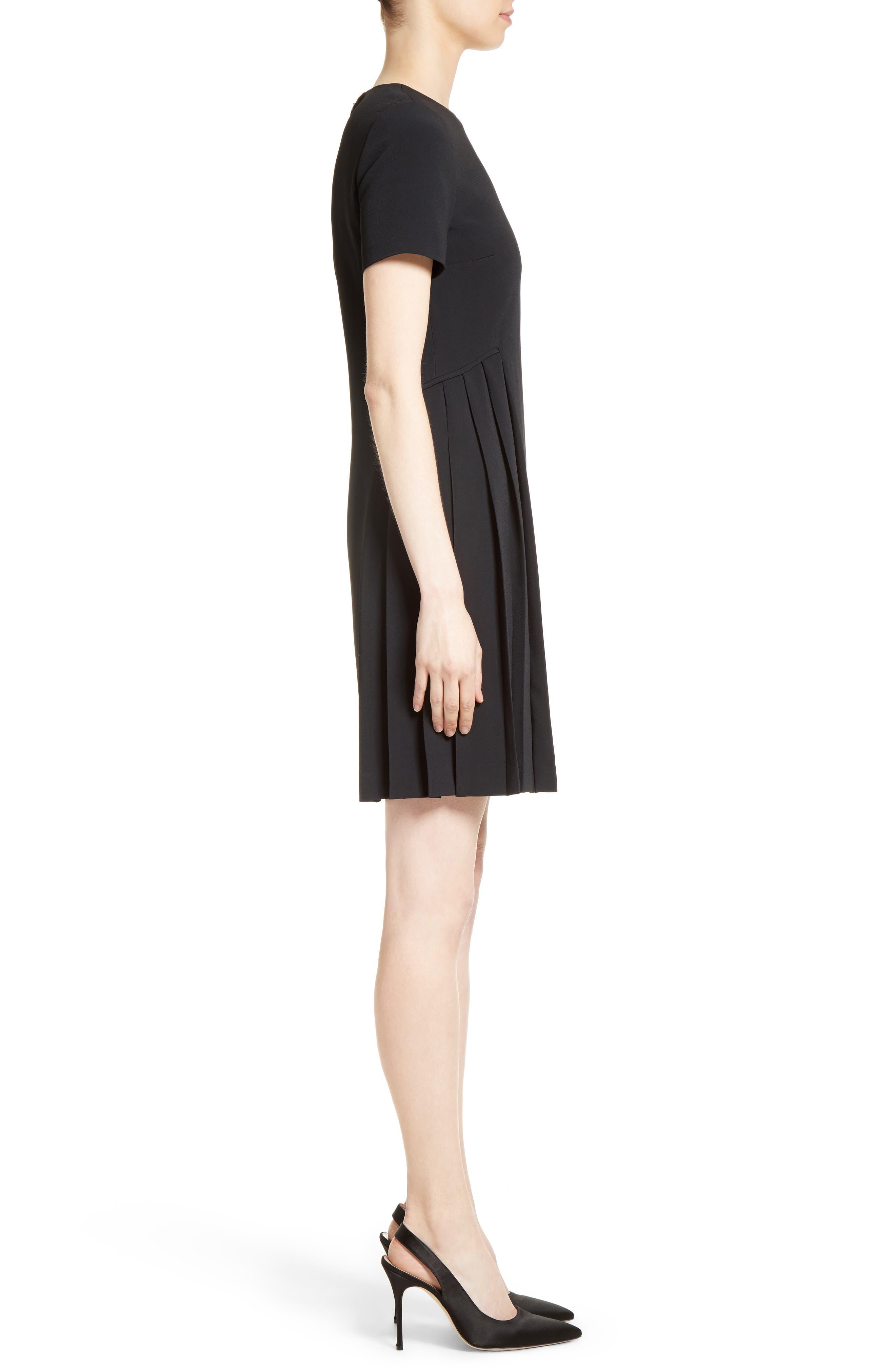 Pleated Fit & Flare Minidress,                             Alternate thumbnail 5, color,                             Black