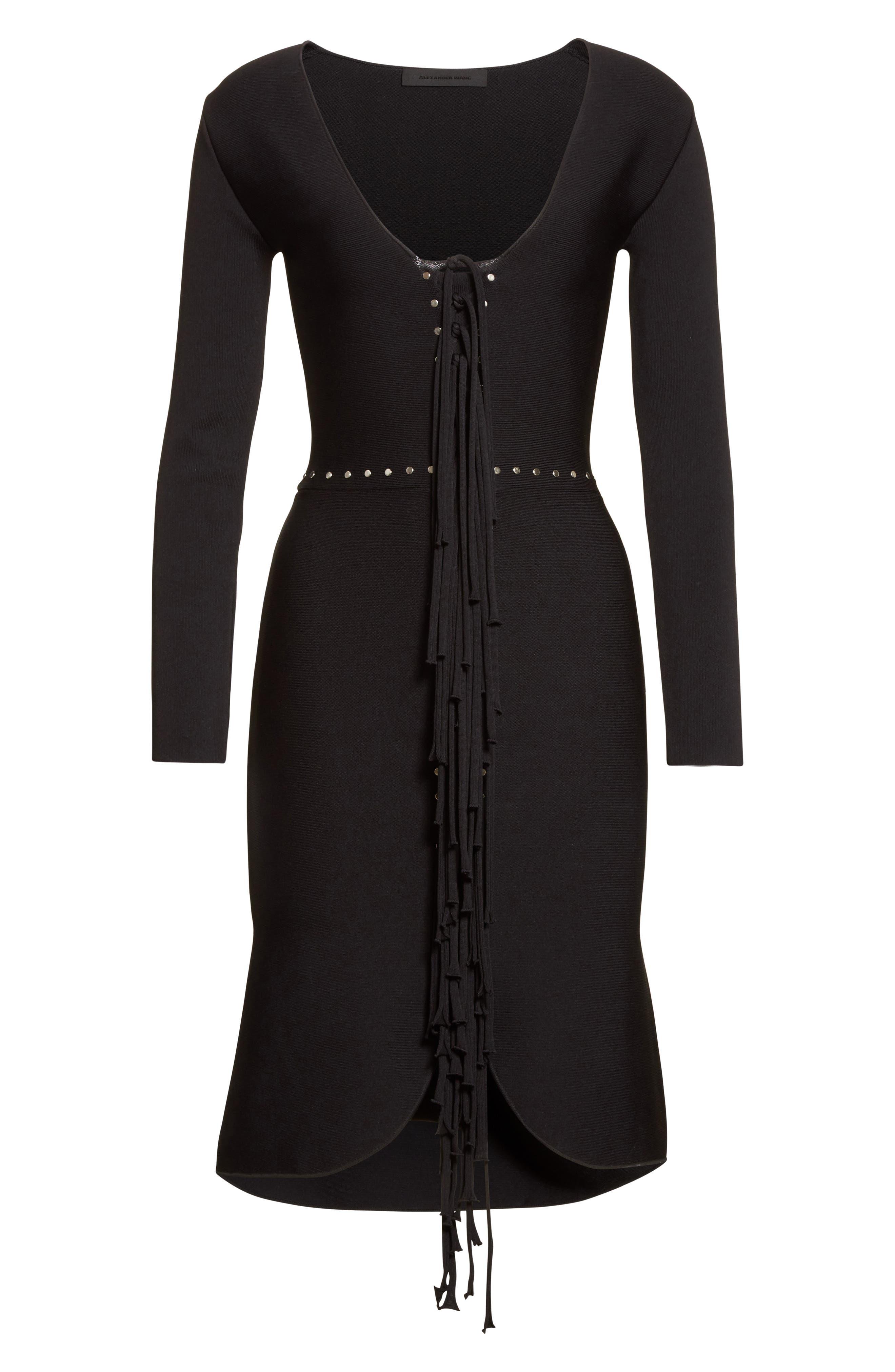 Alternate Image 4  - Alexander Wang Knotted Fringe Knit Dress