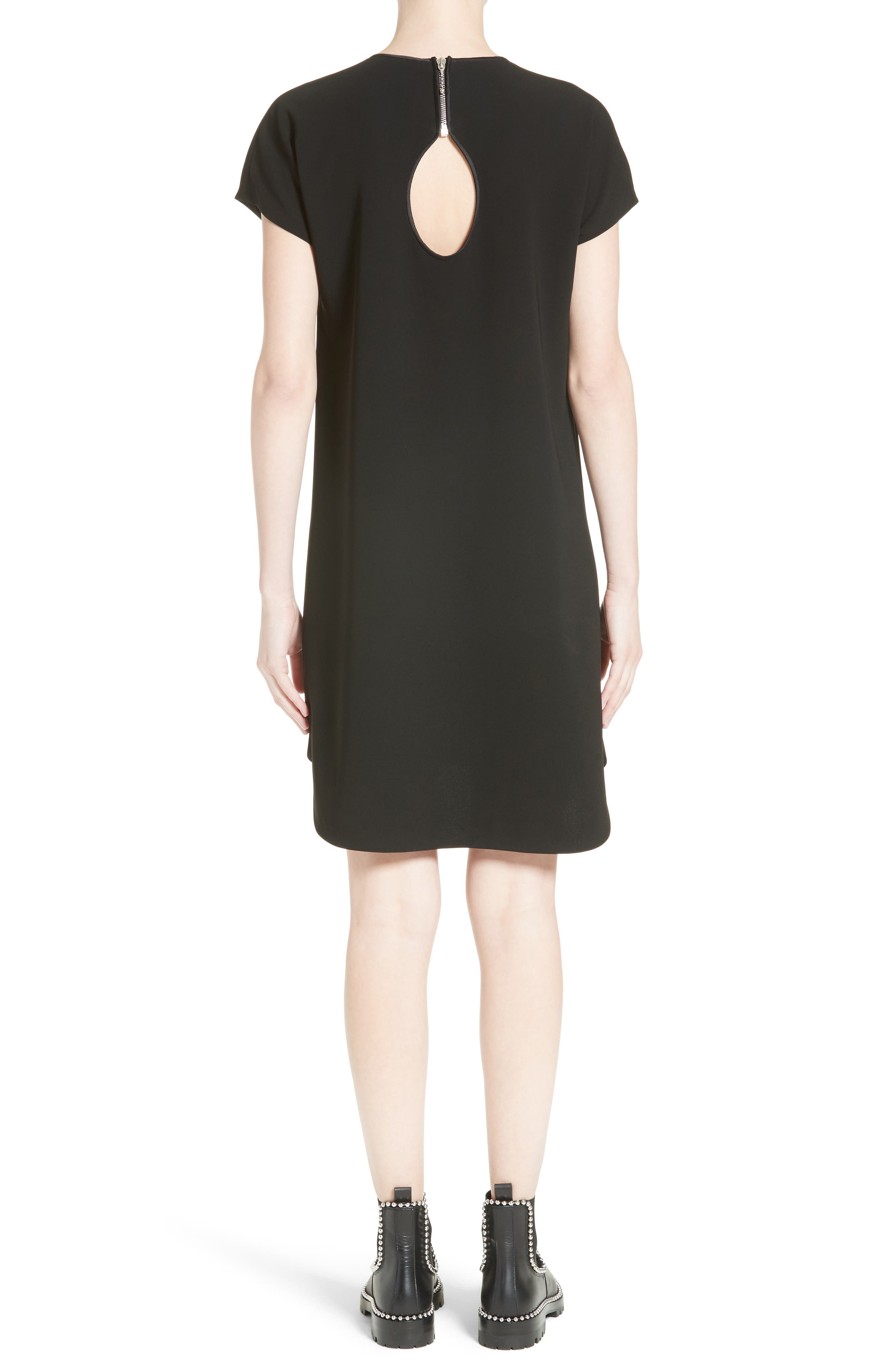 Crepe Shift Dress,                             Alternate thumbnail 2, color,                             Onyx