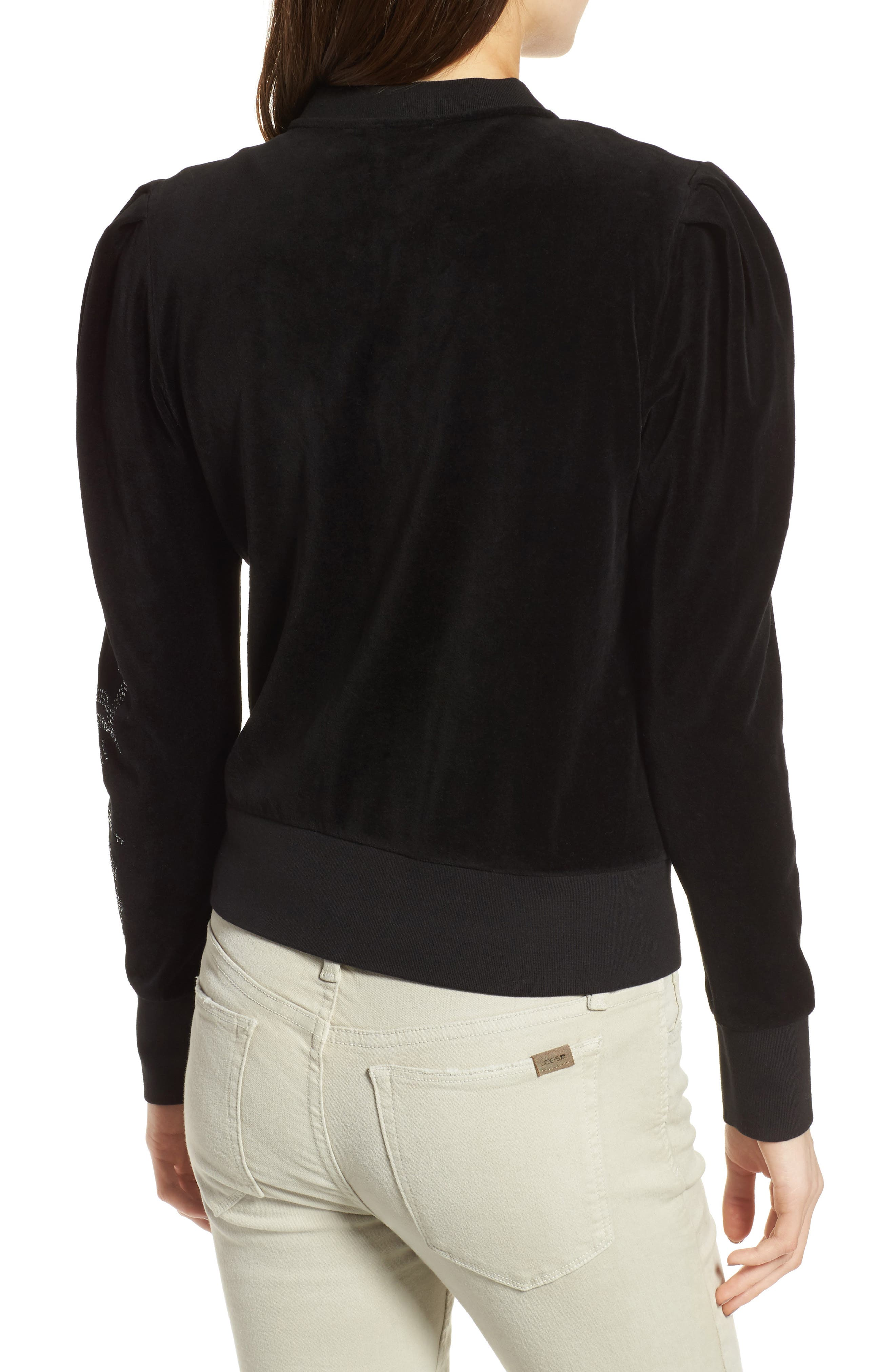 Alternate Image 2  - Juicy Couture Puff Sleeve Velour Track Jacket