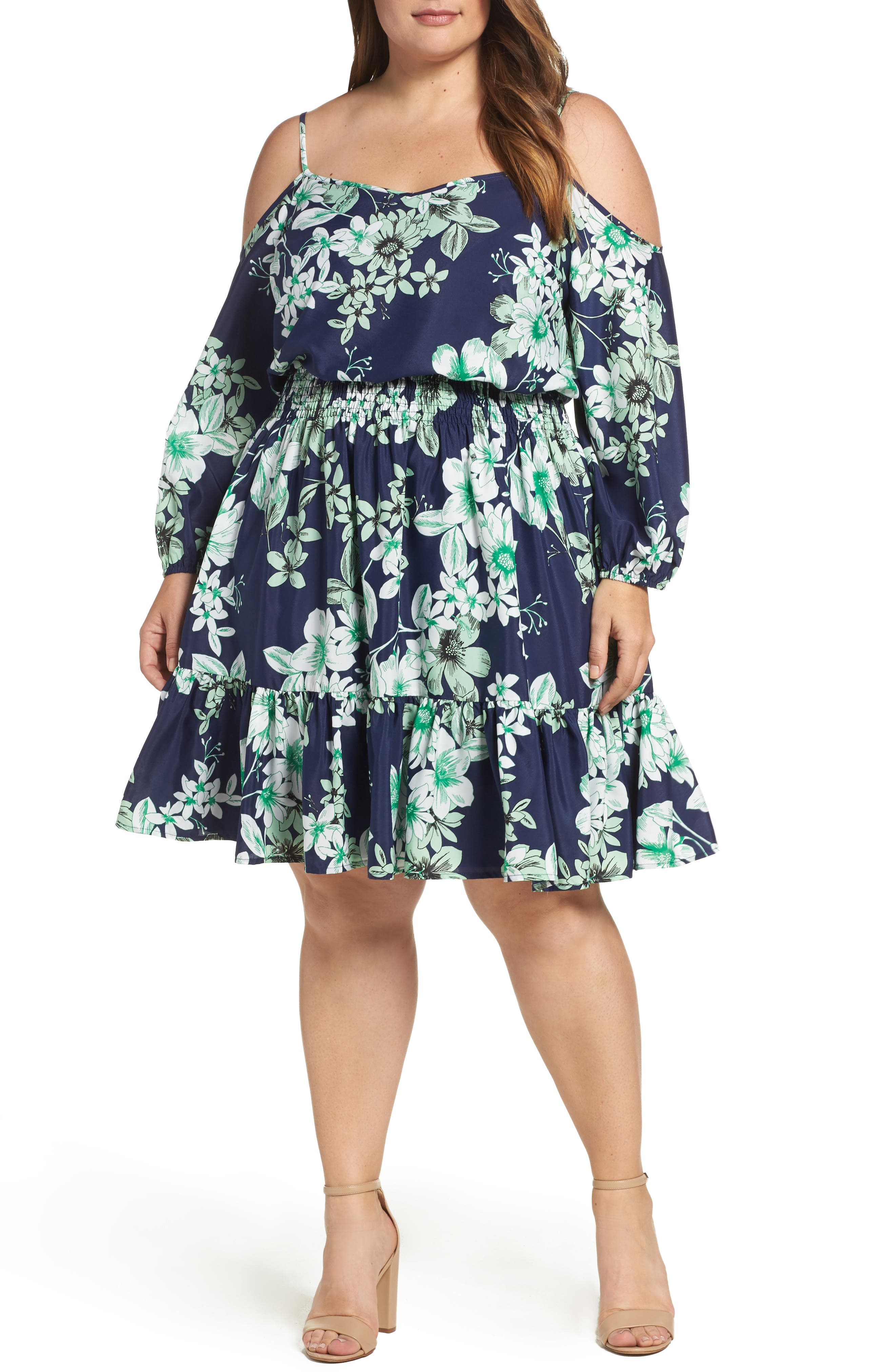 Eliza J Cold Shoulder Blouson Dress (Plus Size)