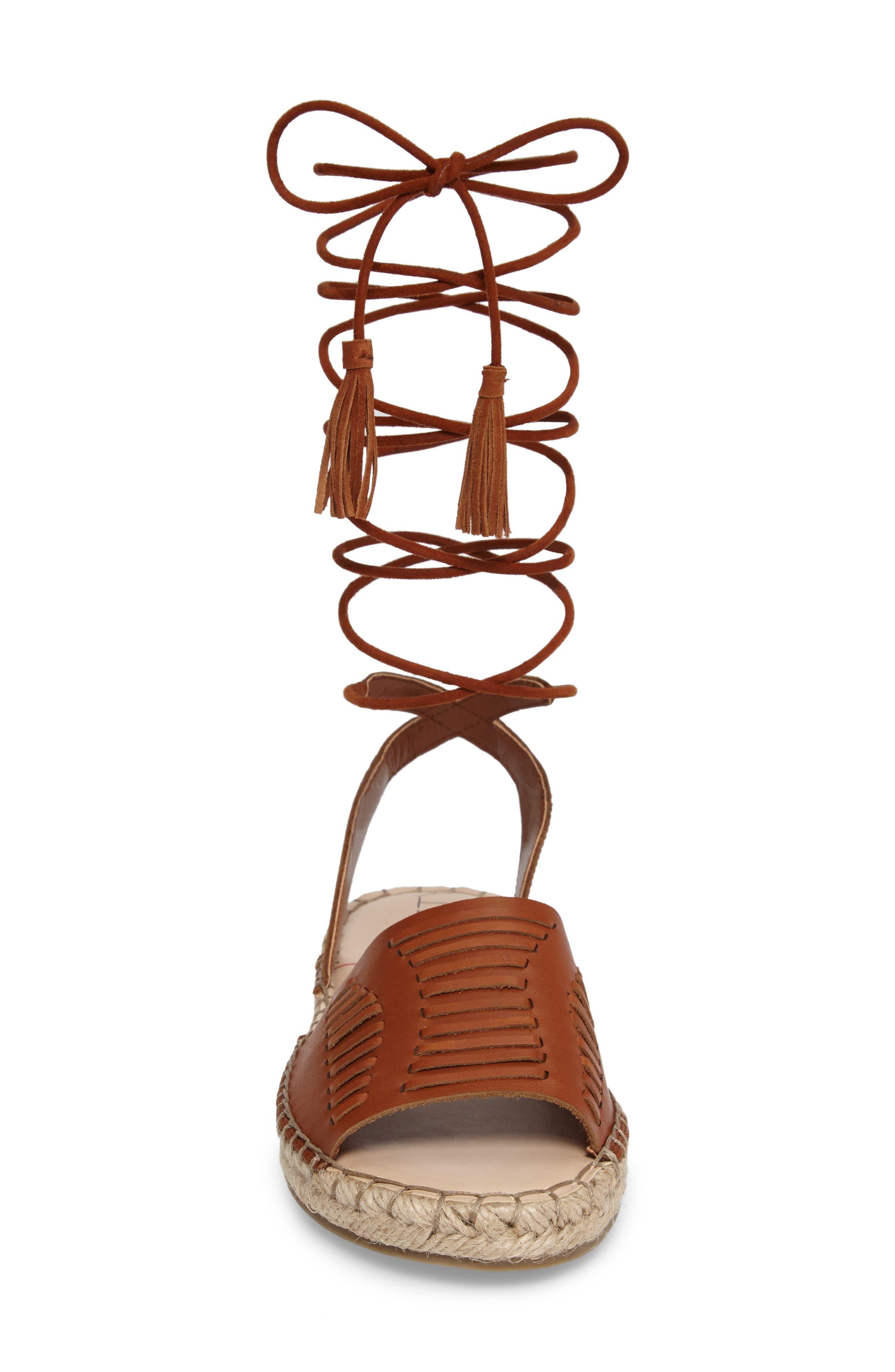 Clover Ankle Wrap Espadrille Sandal,                             Alternate thumbnail 4, color,                             Cognac Leather