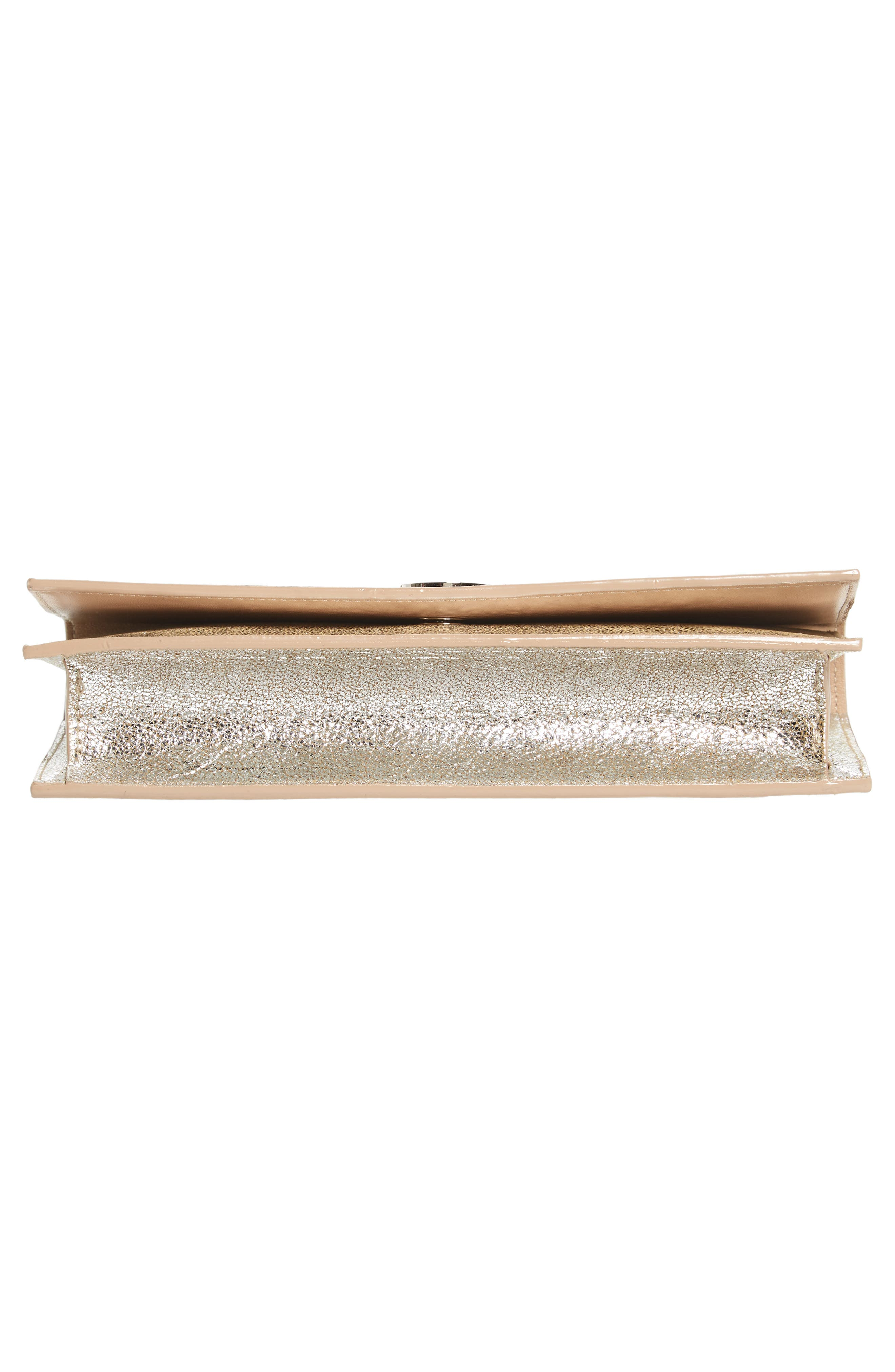 Fie Metallic Leather Clutch,                             Alternate thumbnail 5, color,                             Champagne