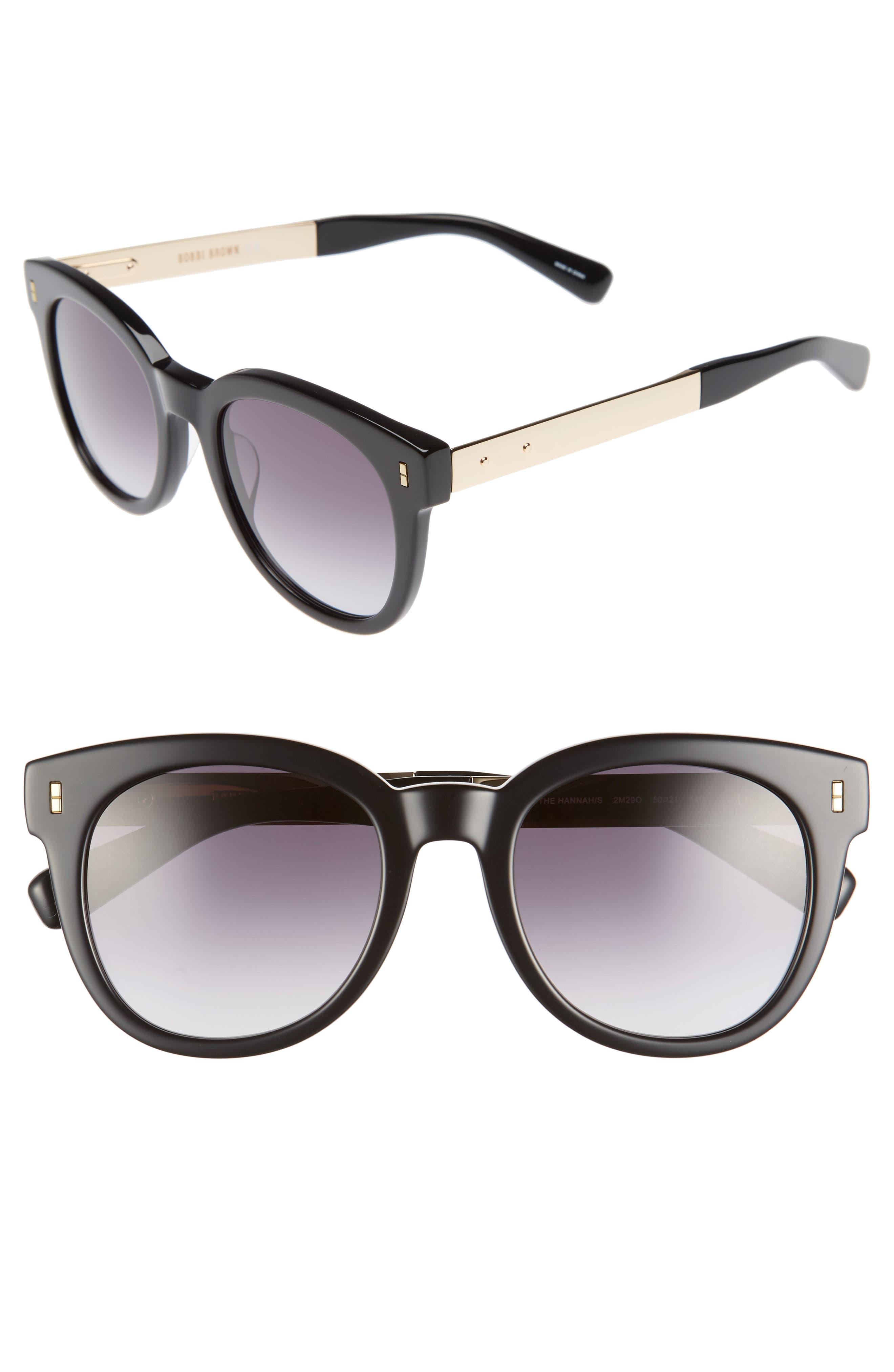 The Hannah 50mm Gradient Sunglasses,                         Main,                         color, Black/ Gold