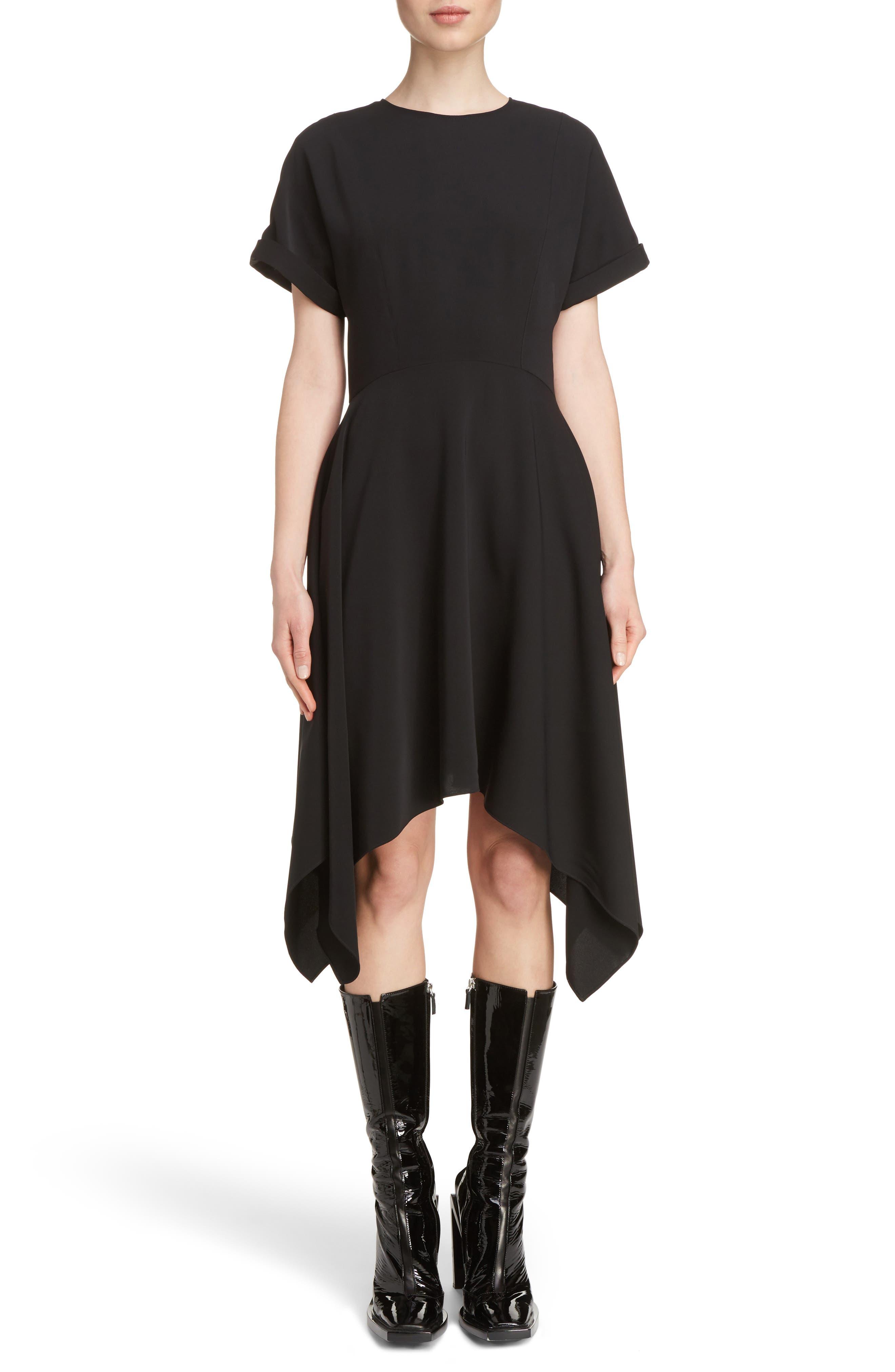 Shark Bite Flare Dress,                             Main thumbnail 1, color,                             Black