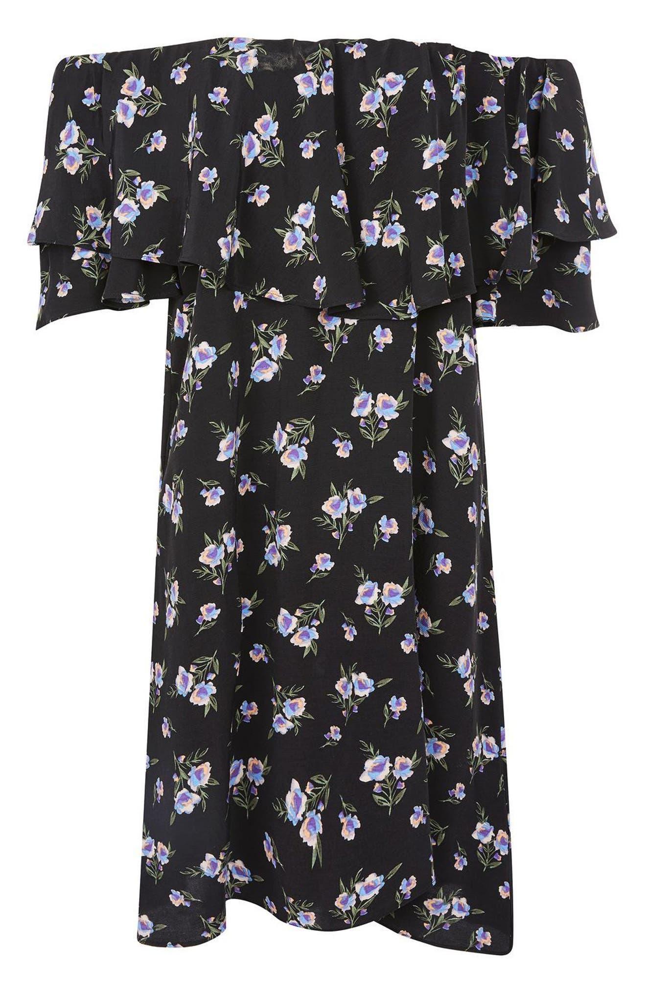 Alternate Image 4  - Topshop Bardot Floral Minidress