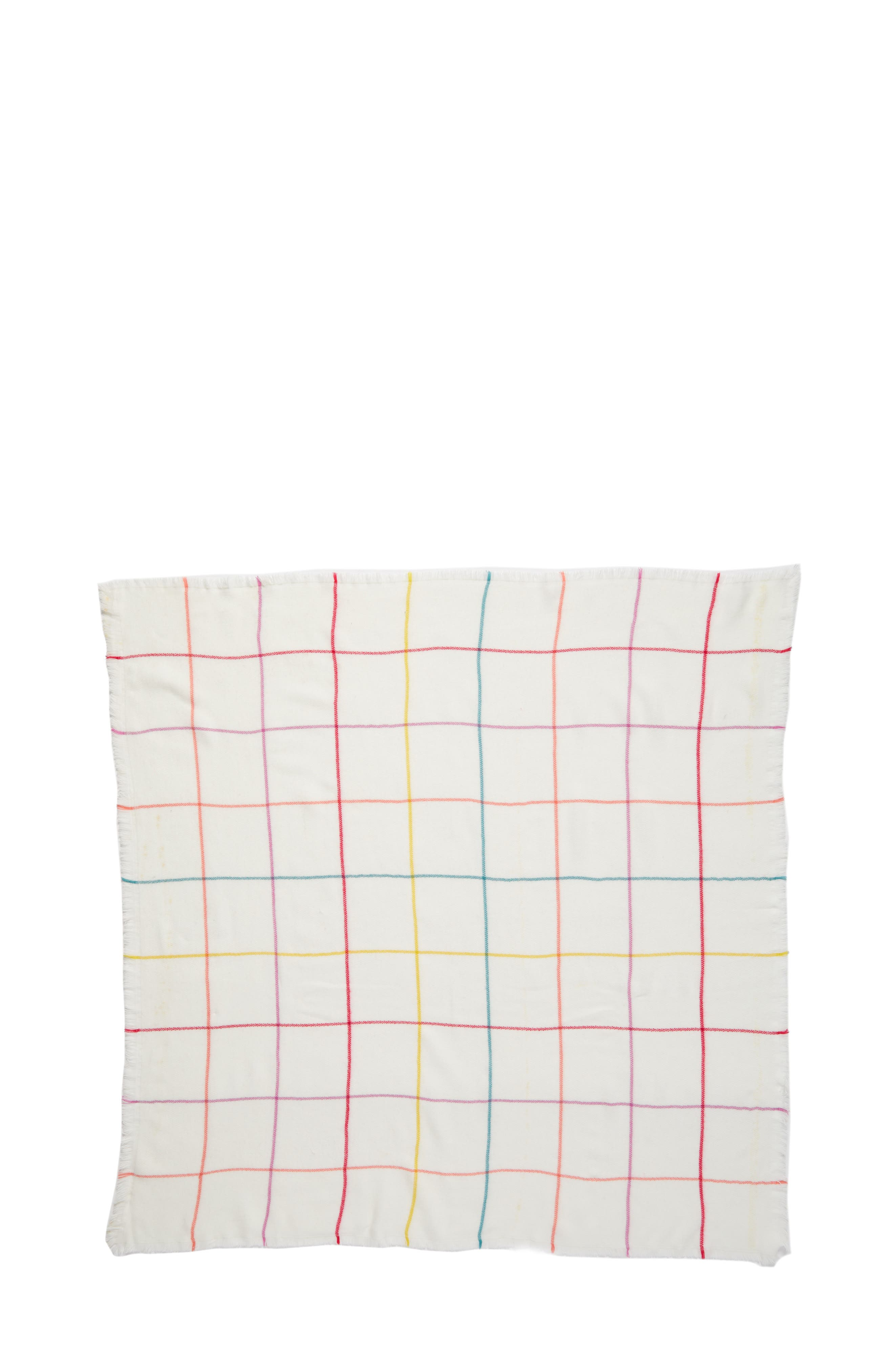 Multicolor Grid Square Scarf,                             Alternate thumbnail 2, color,                             Ivory Multi