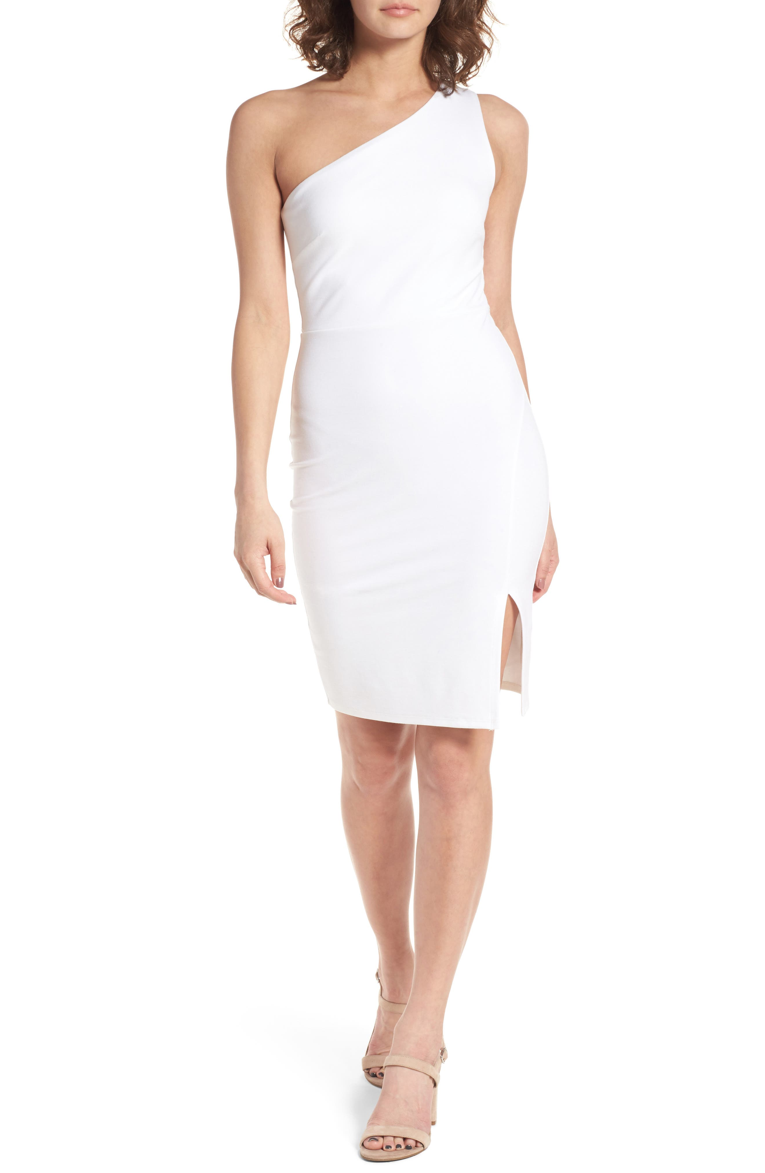 One-Shoulder Body-Con Minidress,                         Main,                         color, Ivory
