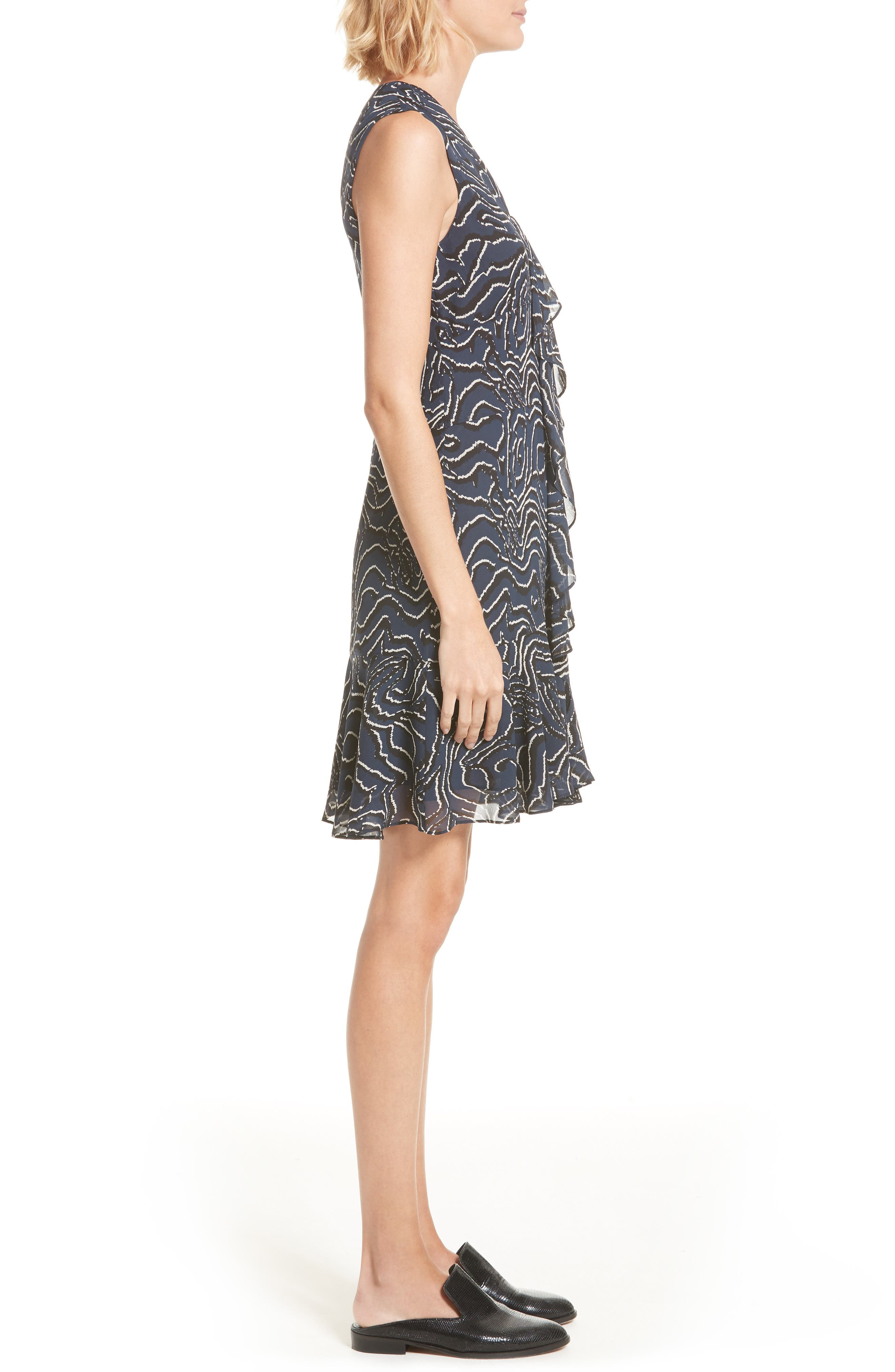 Ruffle Print Silk Dress,                             Alternate thumbnail 3, color,                             Midnight