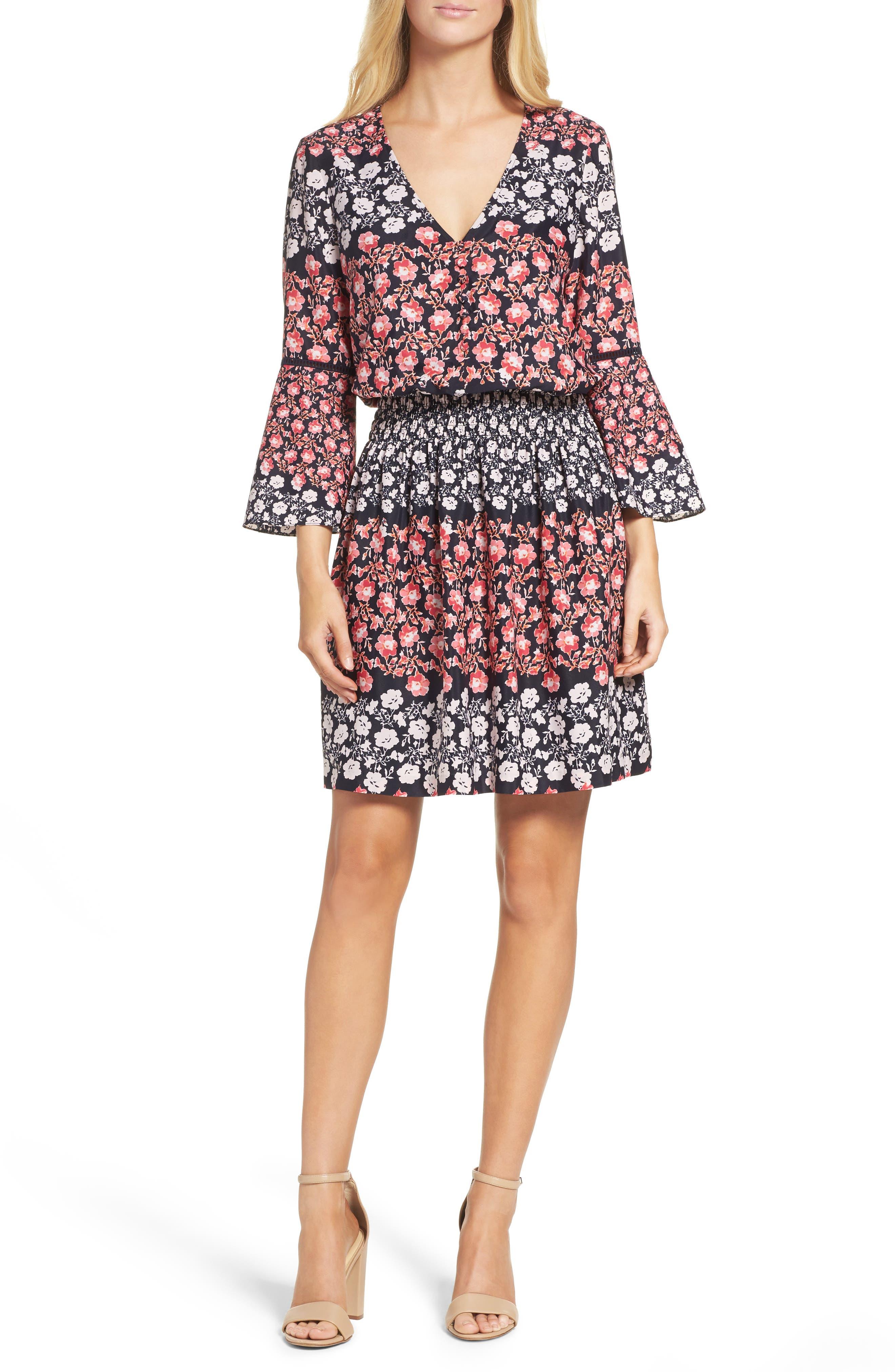 Eliza J Print Bell Sleeve Dress (Regular & Petite)
