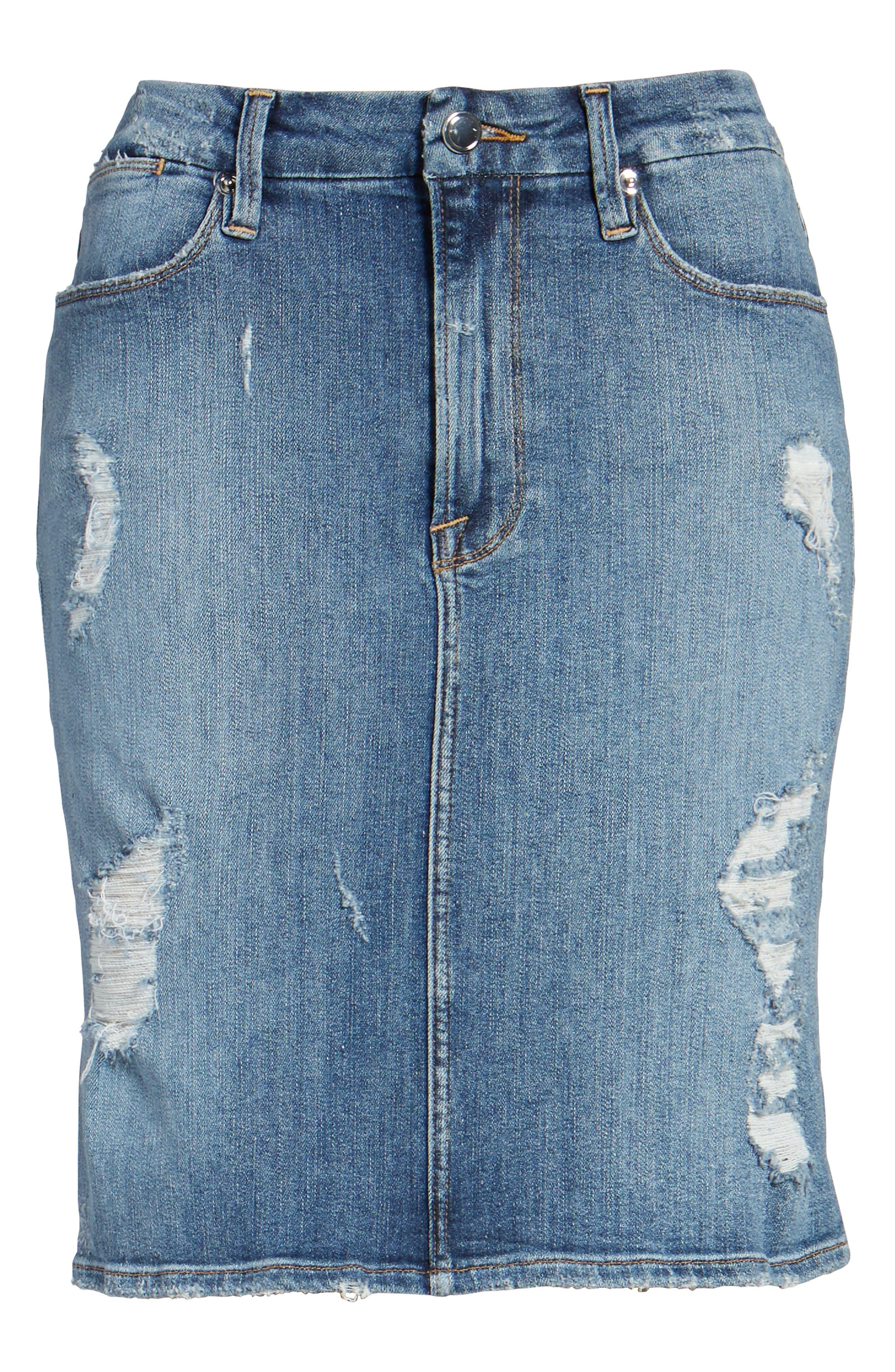 High Waist Denim Pencil Skirt,                             Alternate thumbnail 7, color,                             Blue 083