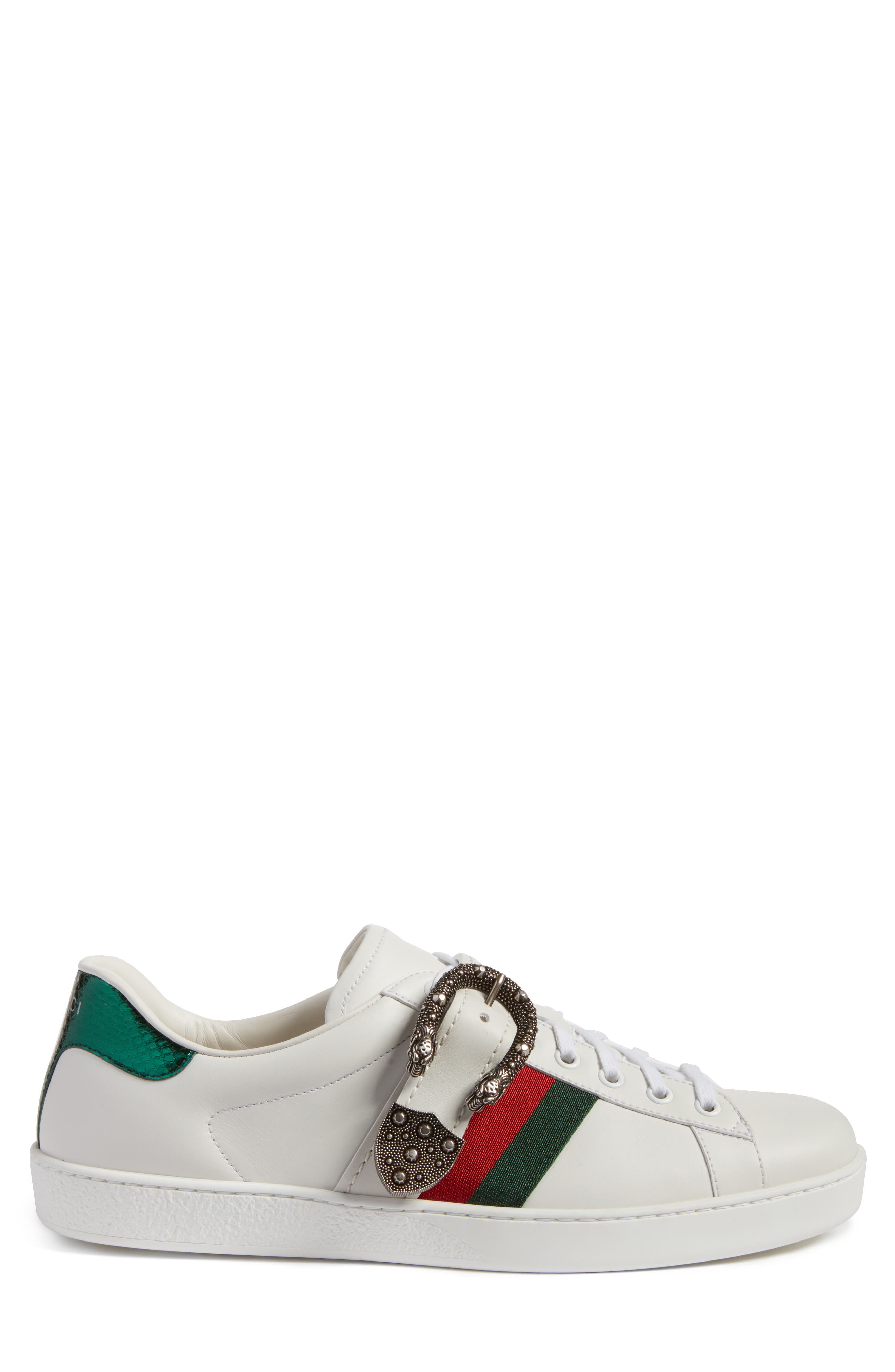 New Ace Dionysus Buckle Low Top Sneaker,                             Alternate thumbnail 3, color,                             White With Silver Hardware