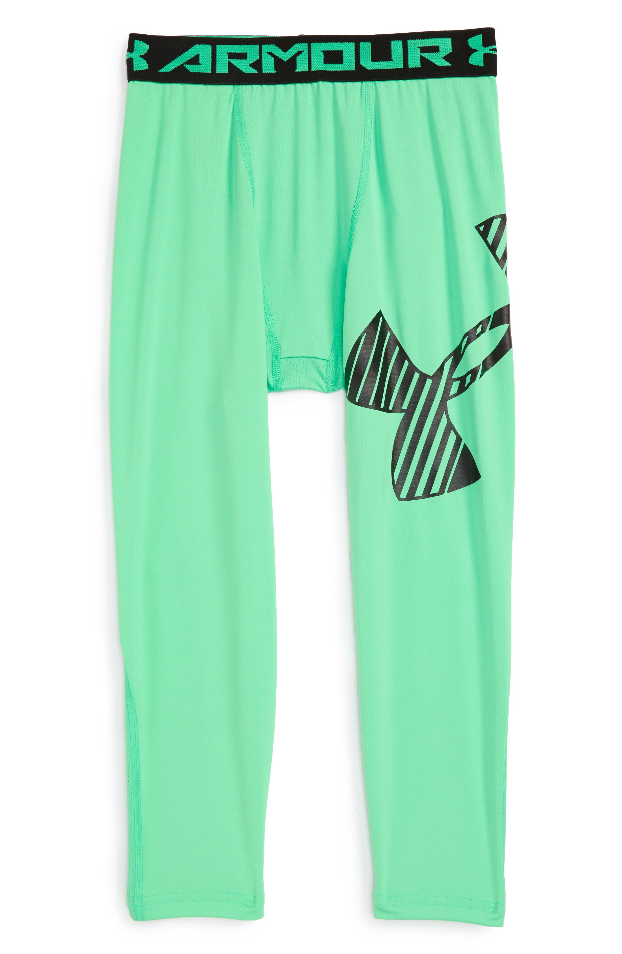 Logo HeatGear<sup>®</sup> 3/4 Leggings,                         Main,                         color, Vapor Green