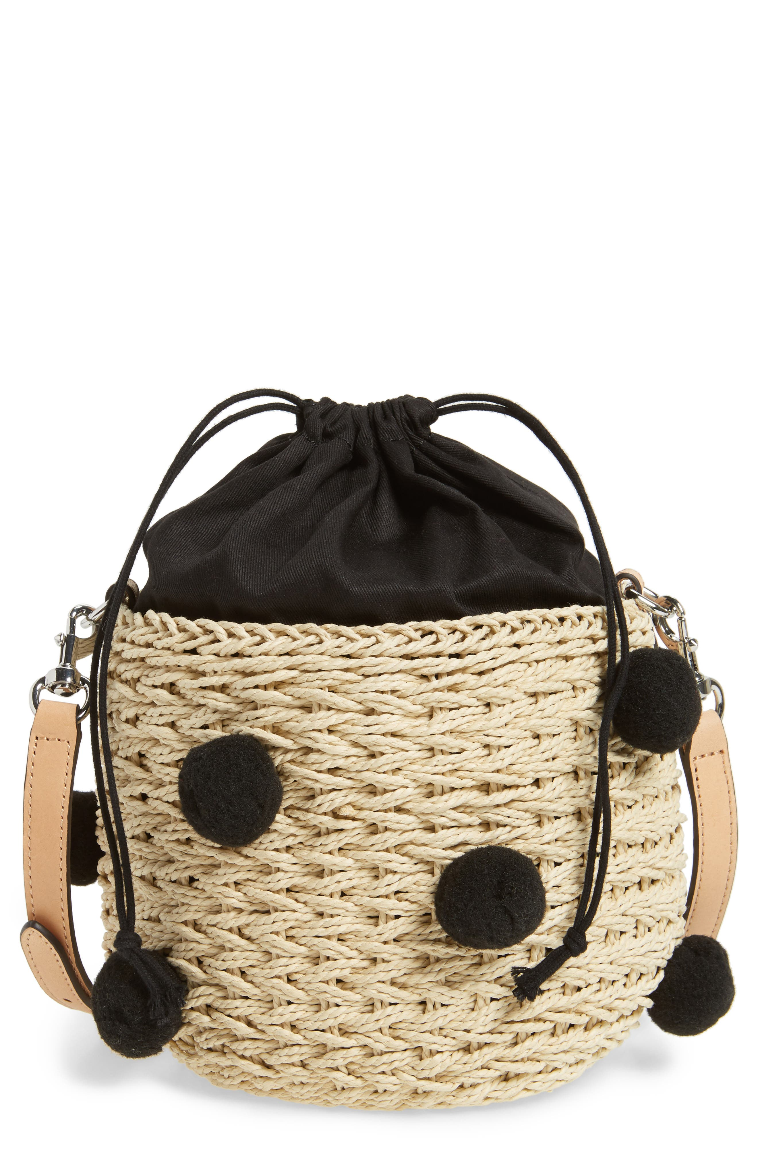 Straw Pom Pom Bucket Bag,                             Main thumbnail 1, color,                             Natural