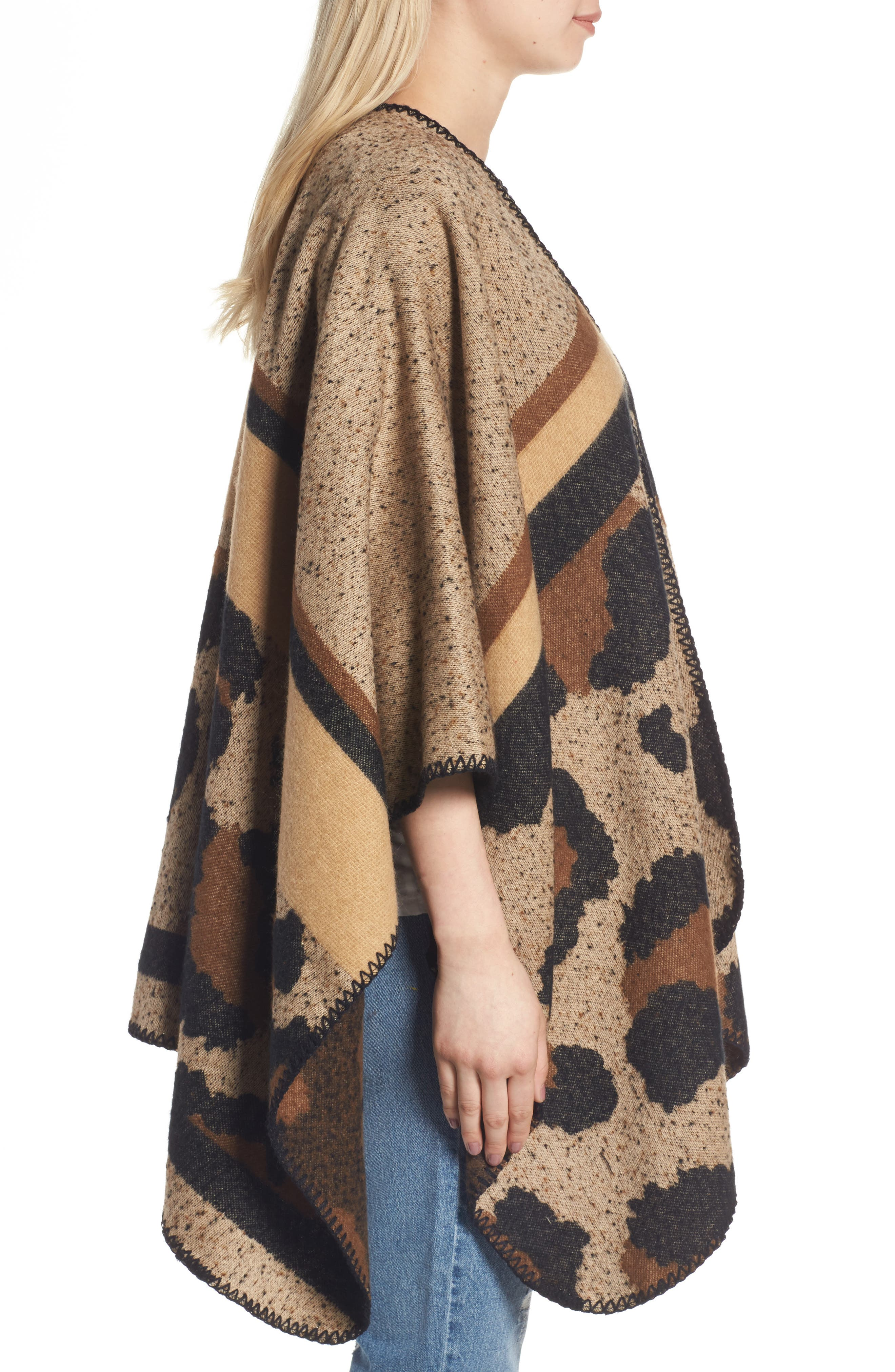 BP Leopard Print Ruana,                             Alternate thumbnail 3, color,                             Brown Multi