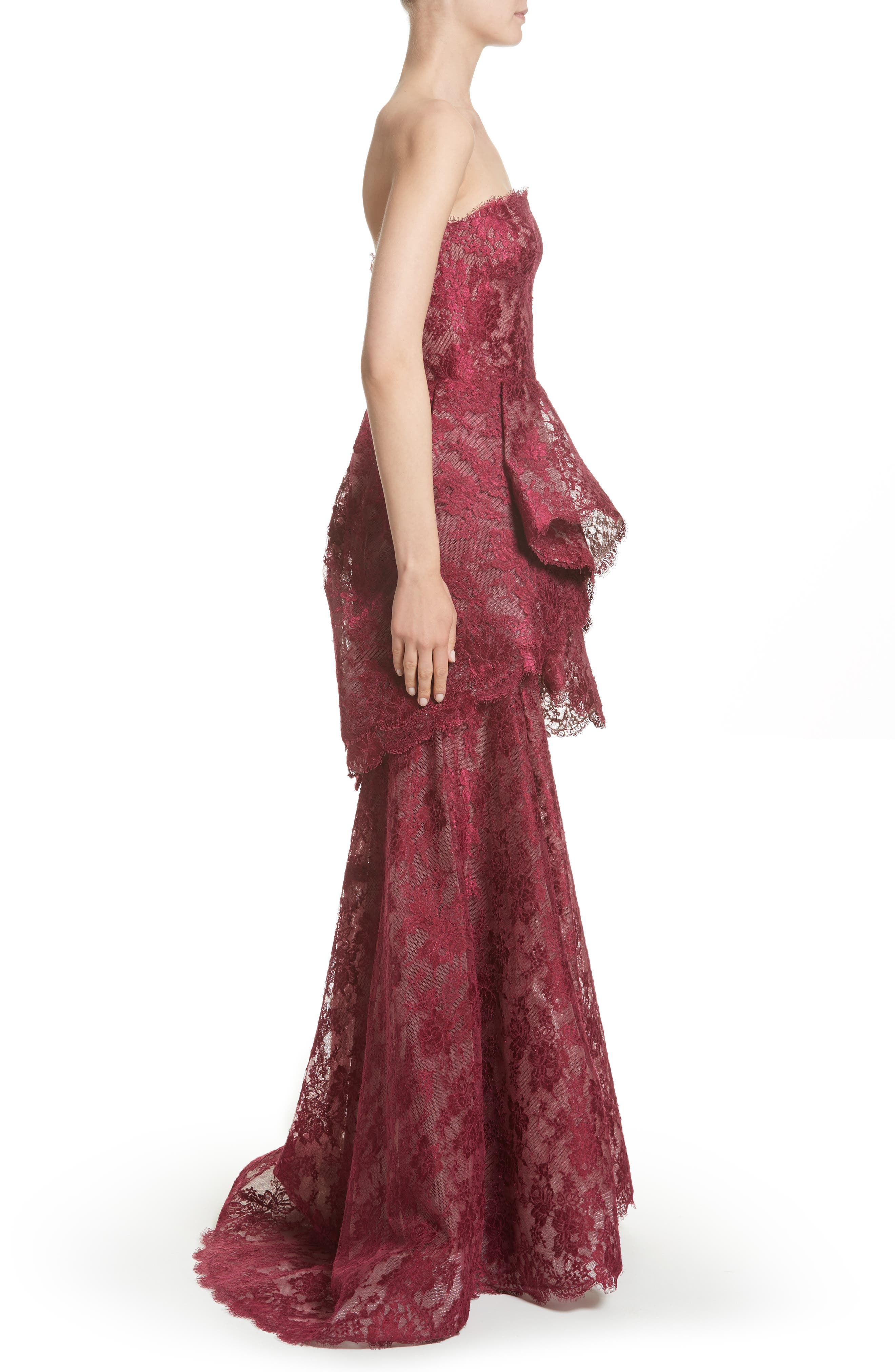 Tiered Strapless Lace Gown,                             Alternate thumbnail 4, color,                             Cherry
