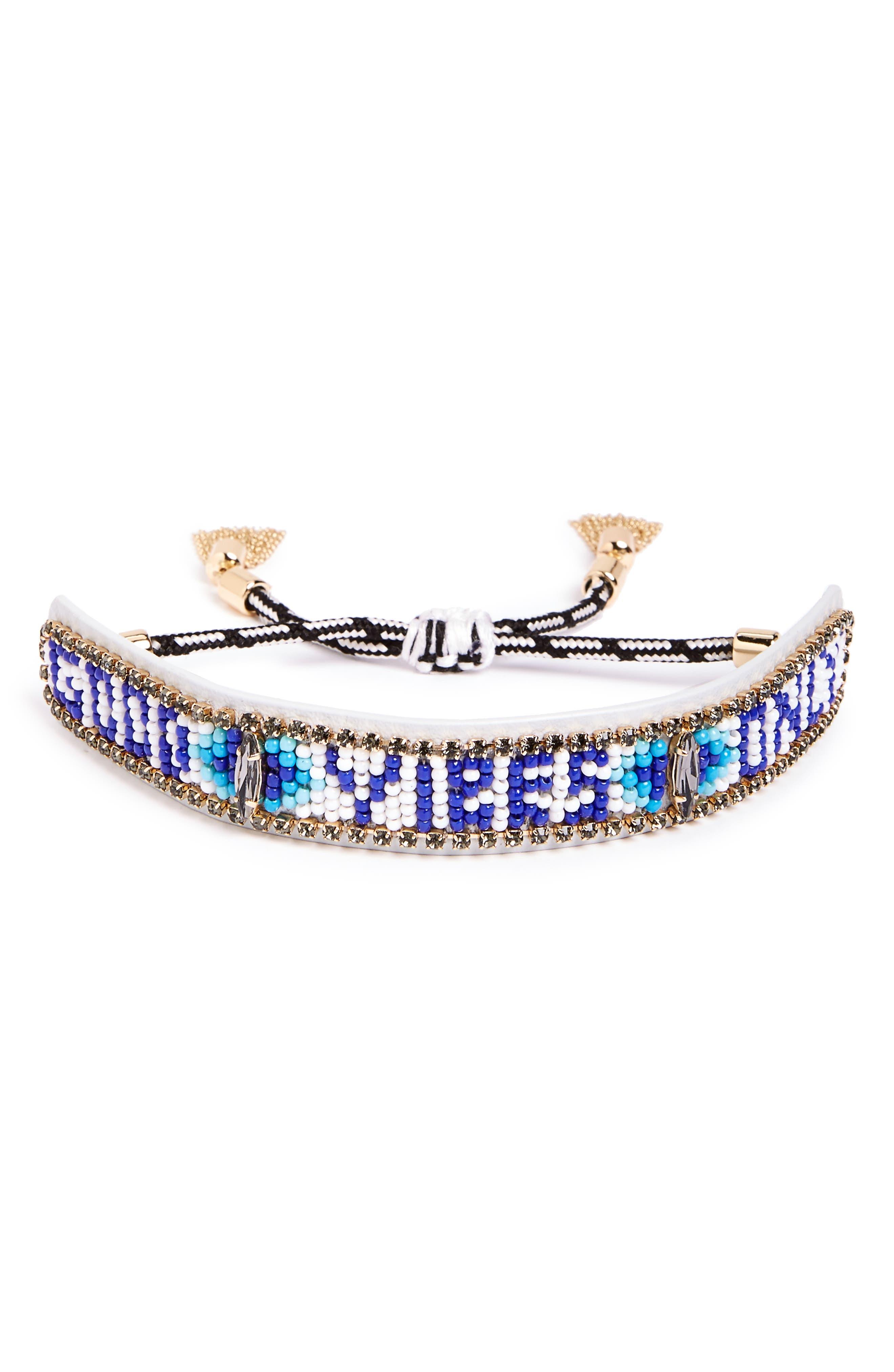 REBECCA MINKOFF Good Vibes Only Bead Bracelet