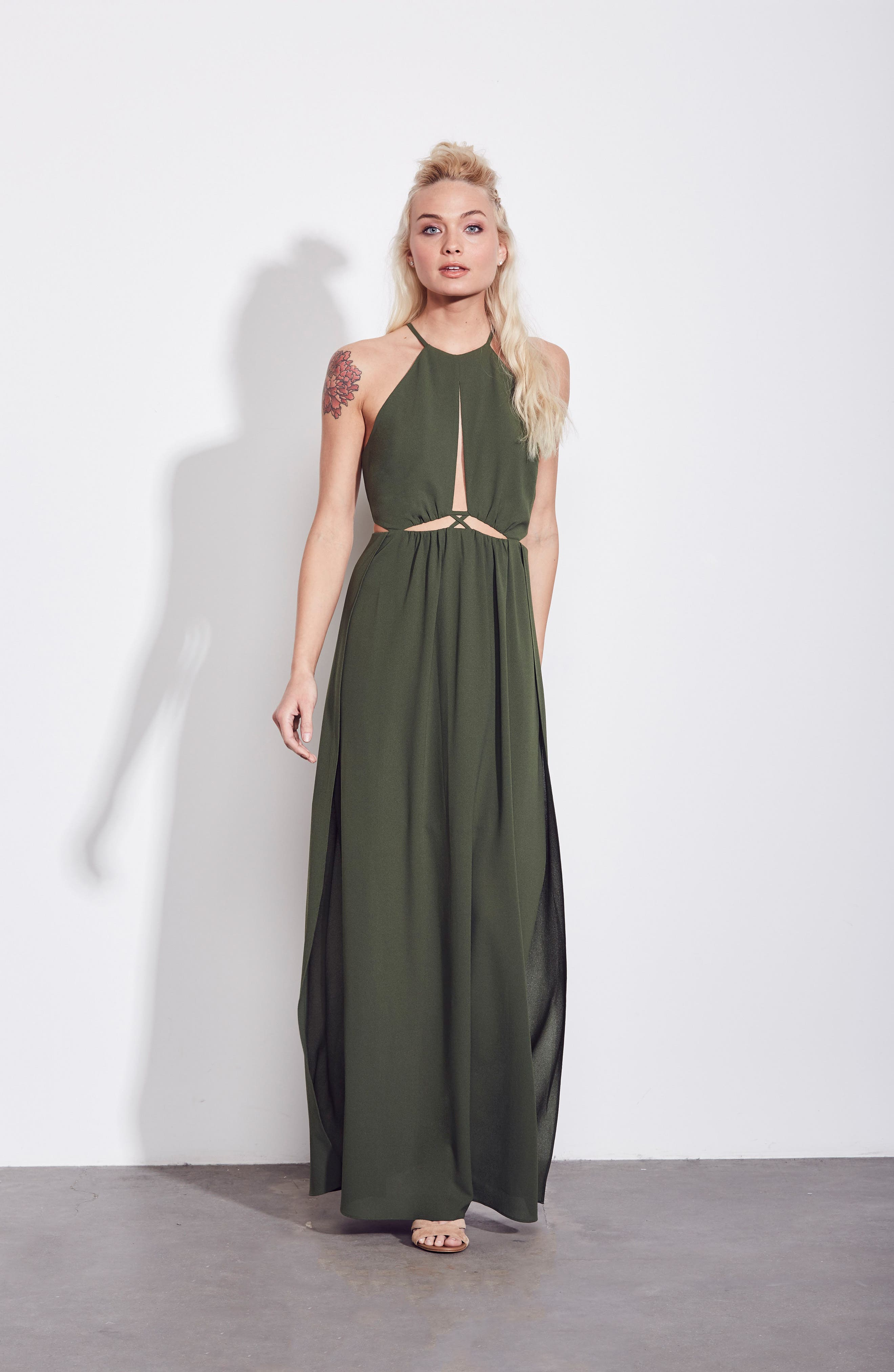 Gazing At The Observatory Maxi Dress,                             Alternate thumbnail 2, color,                             Army