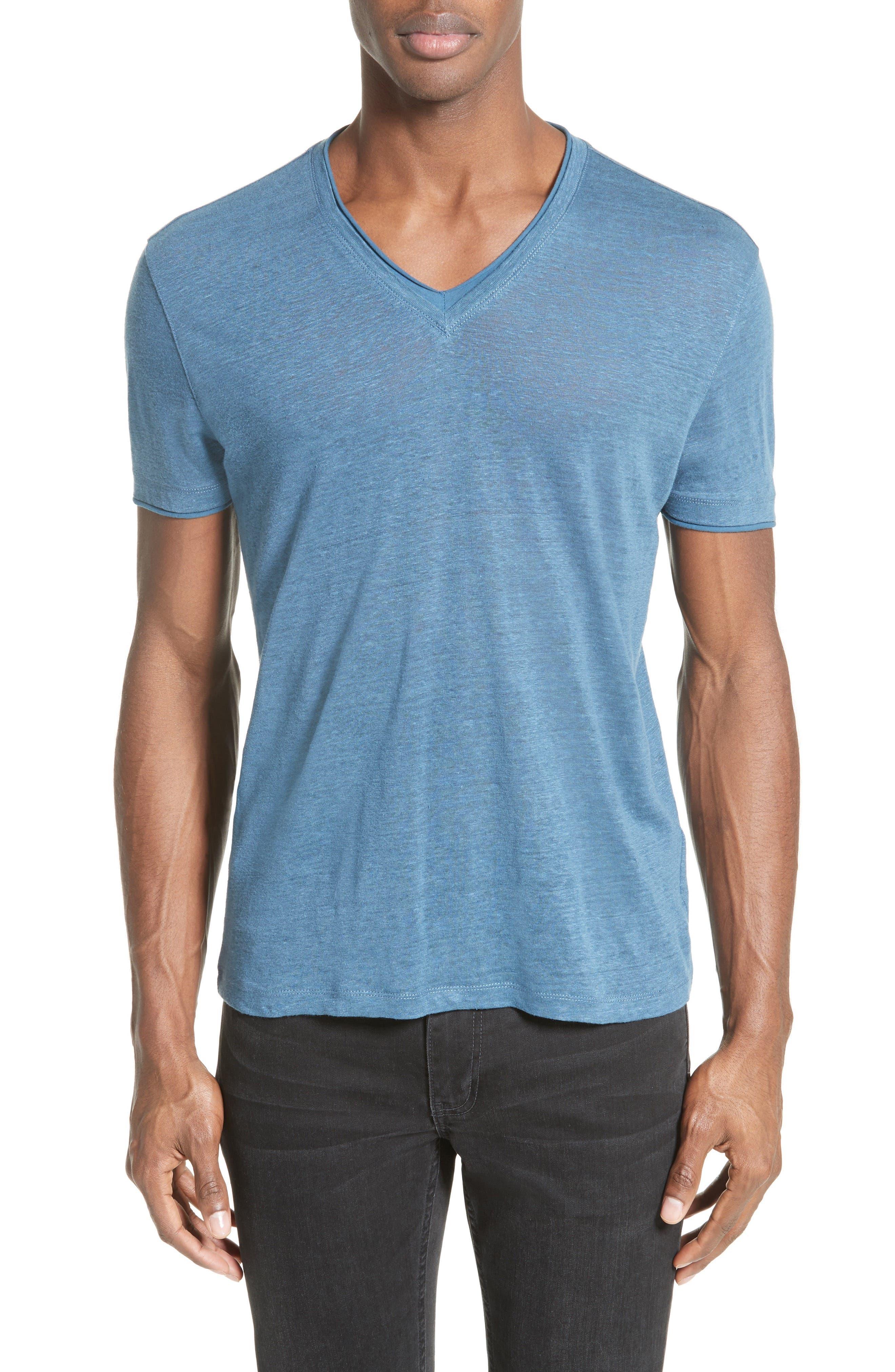 Linen T-Shirt,                         Main,                         color, Lake Blue