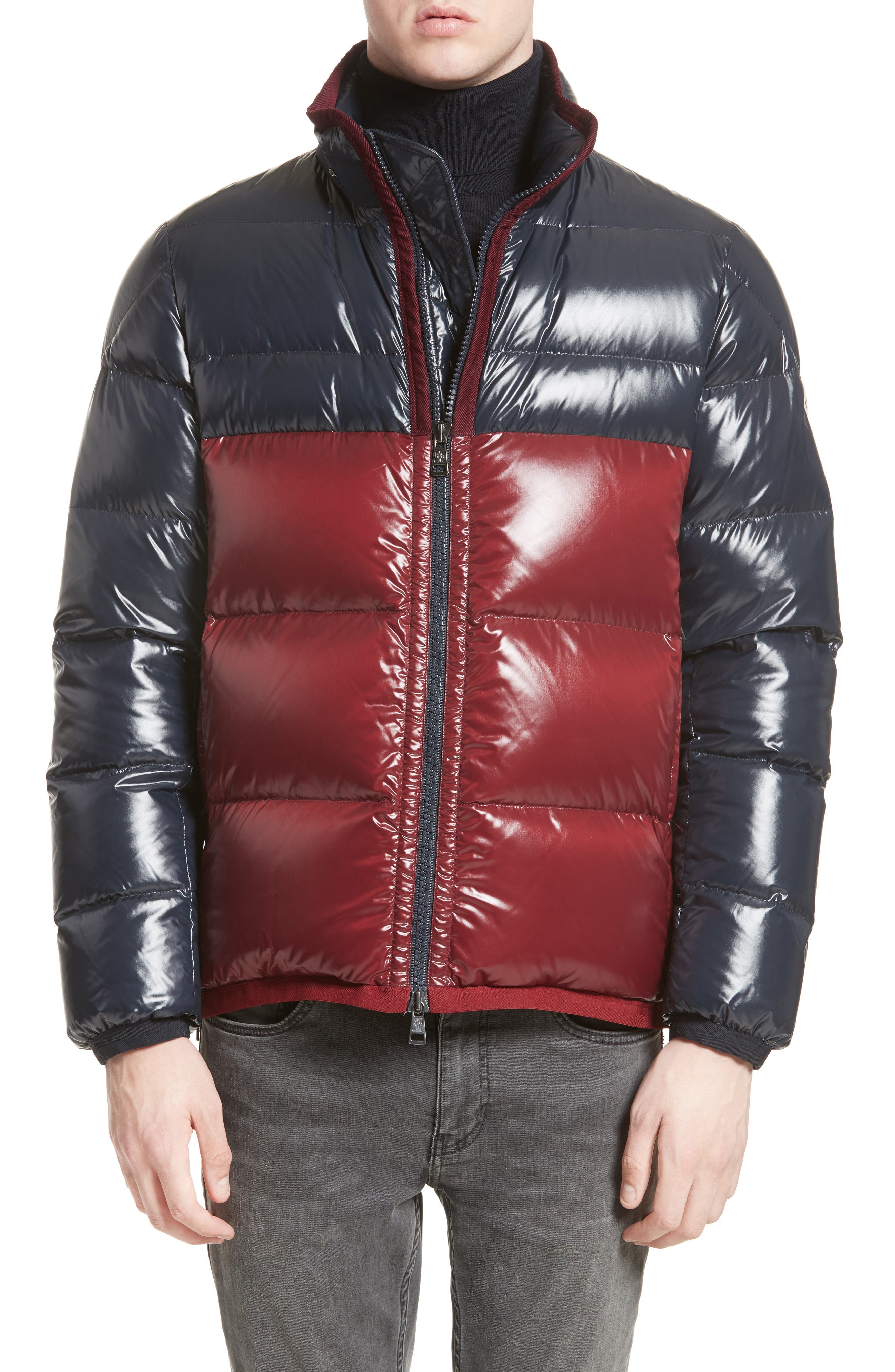 Harry Two-Tone Lacquered Hooded Down Jacket,                             Alternate thumbnail 4, color,                             Navy