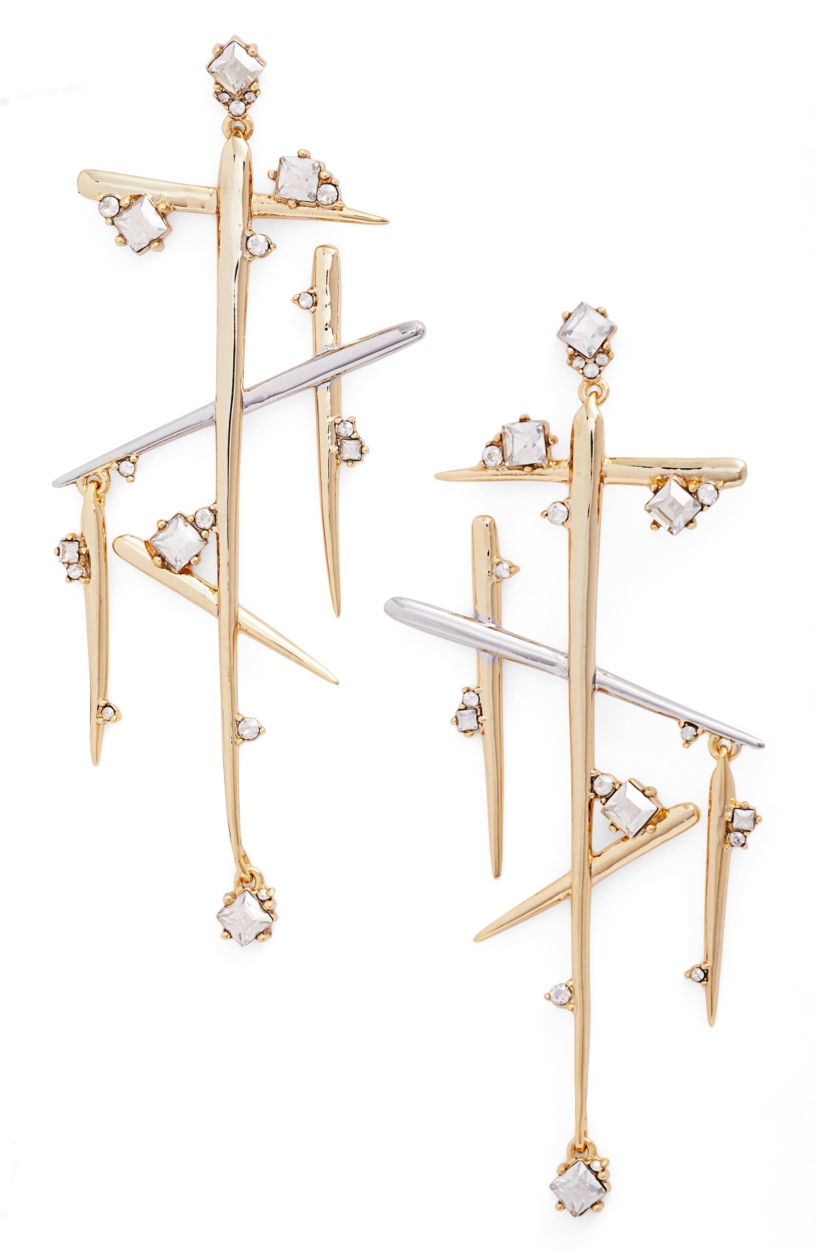 Crystal Dangle Drop Earrings,                         Main,                         color, Silver