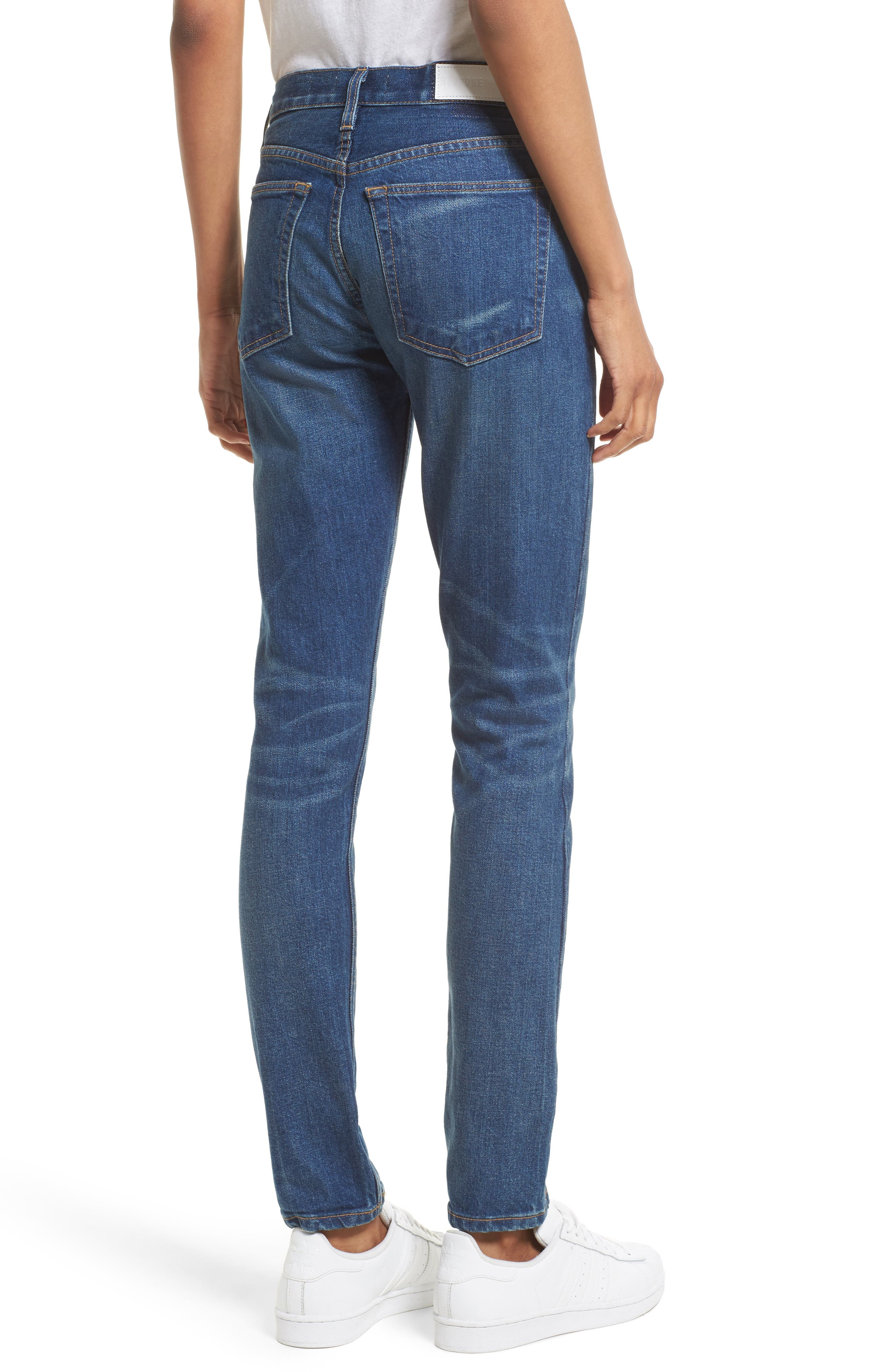 High Waist Stretch Crop Jeans,                             Alternate thumbnail 2, color,                             Med Vain