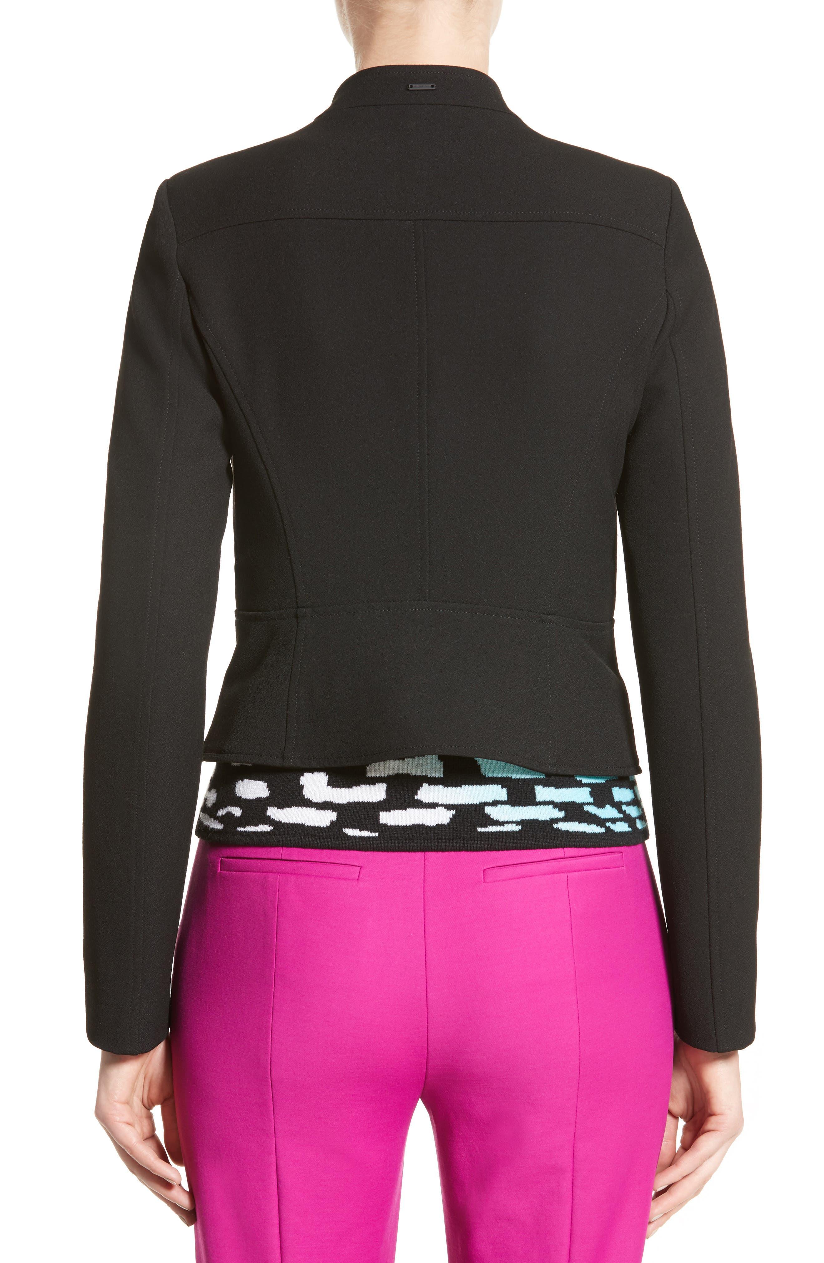 Armani Jeans Crepe Moto Jacket,                             Alternate thumbnail 2, color,                             Black
