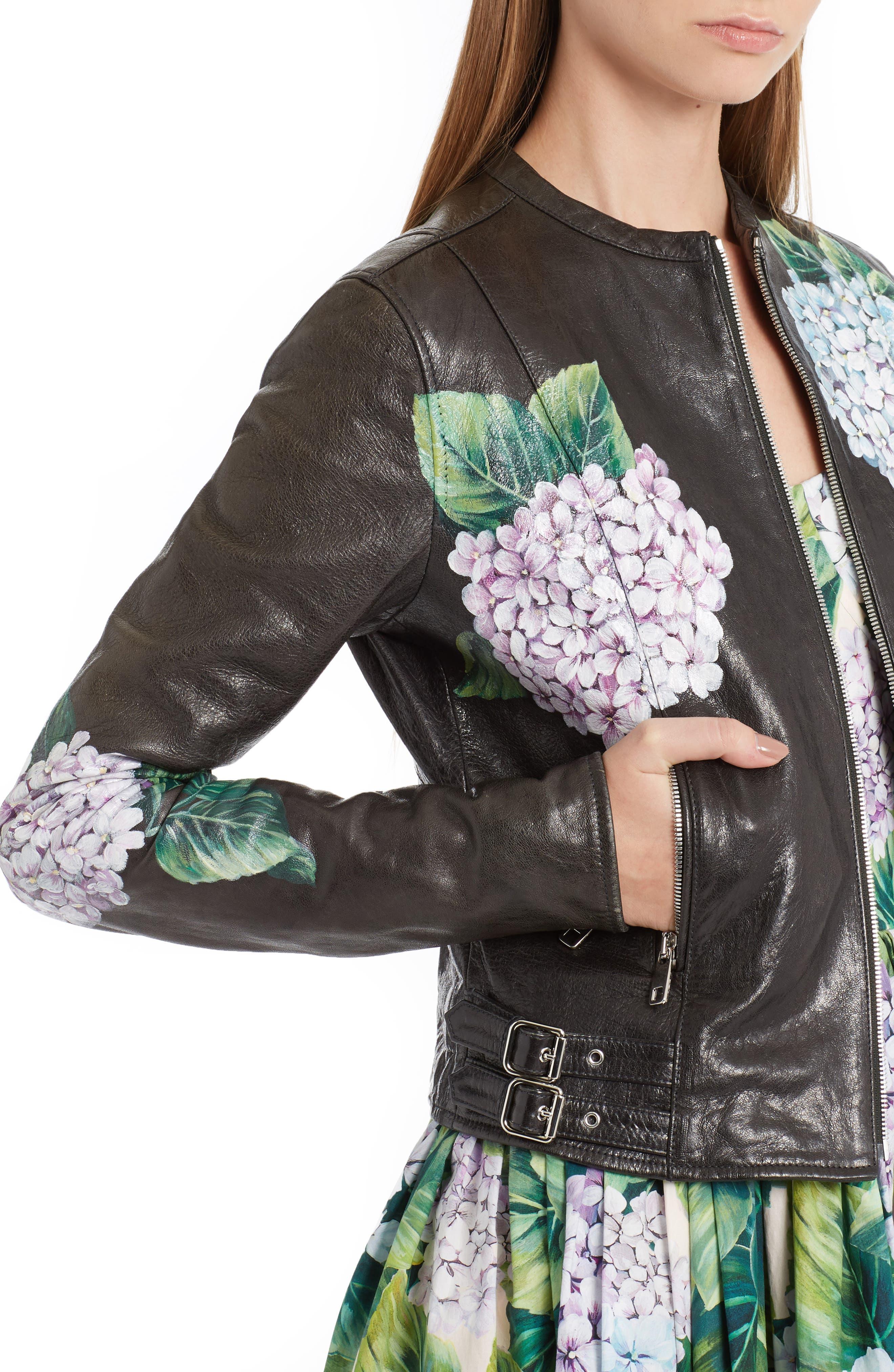 Alternate Image 5  - Dolce&Gabbana Hydrangea Painted Leather Jacket