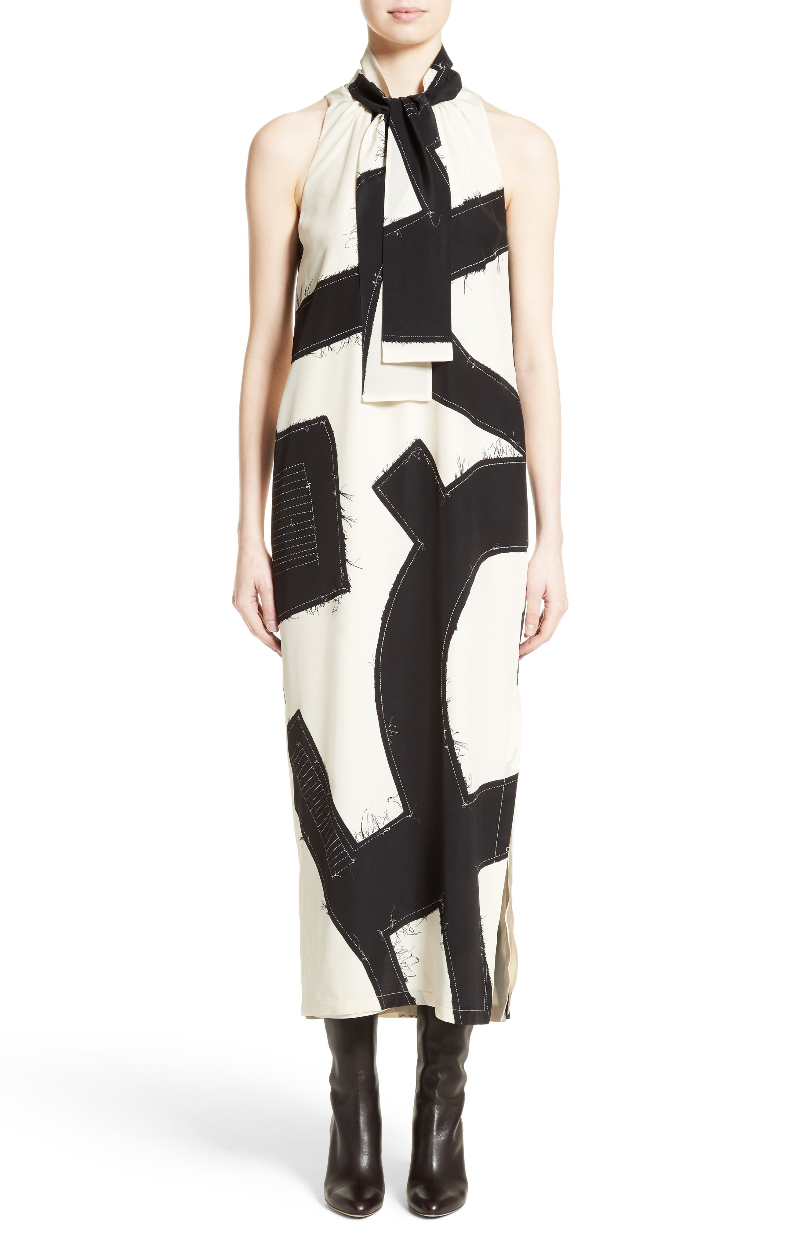 Agiato Print Silk Dress,                         Main,                         color, Ivory