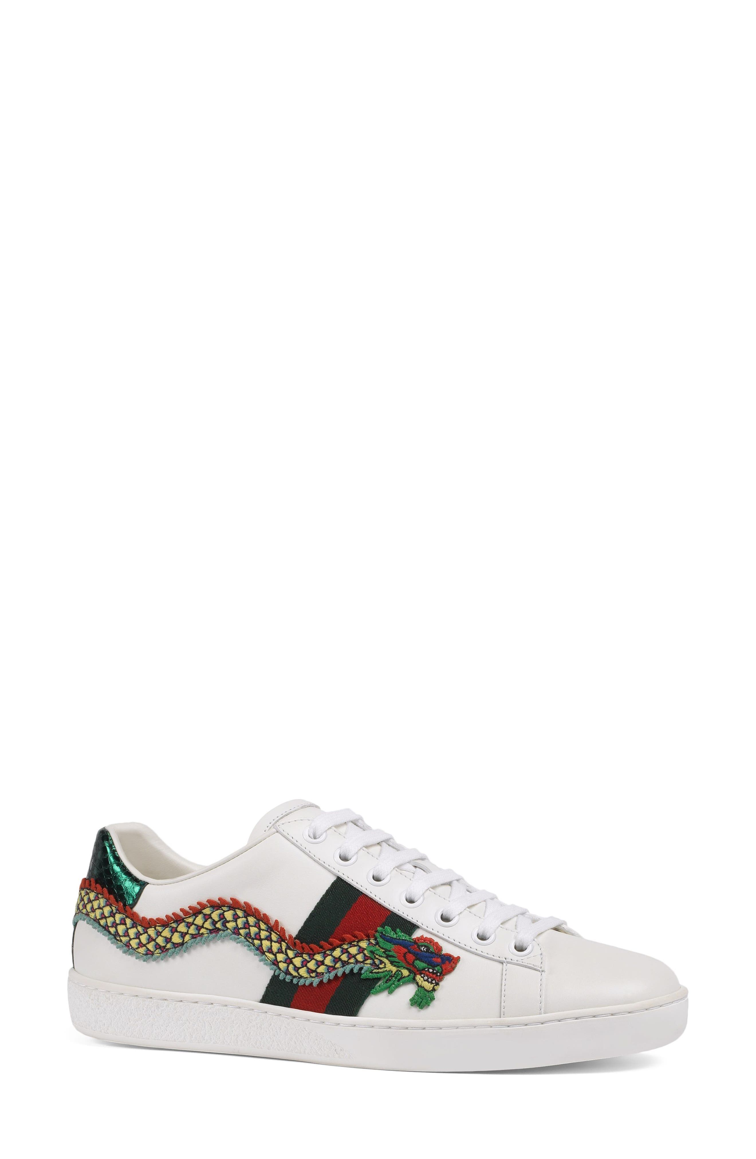 New Ace Dragon Sneaker,                             Alternate thumbnail 2, color,                             White Leather