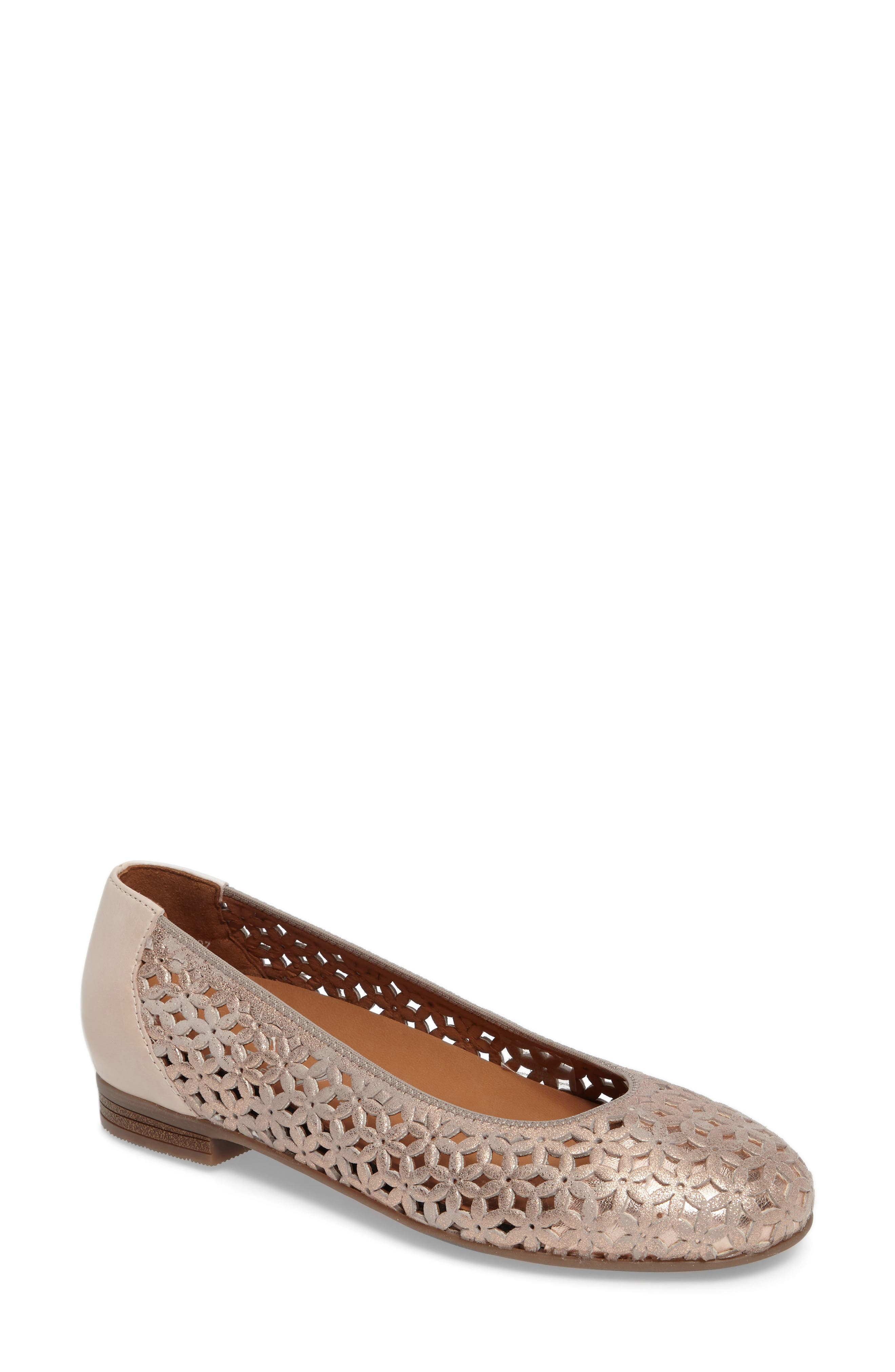 Stephanie Perforated Ballet Flat,                             Main thumbnail 1, color,                             Rose Gold Leather