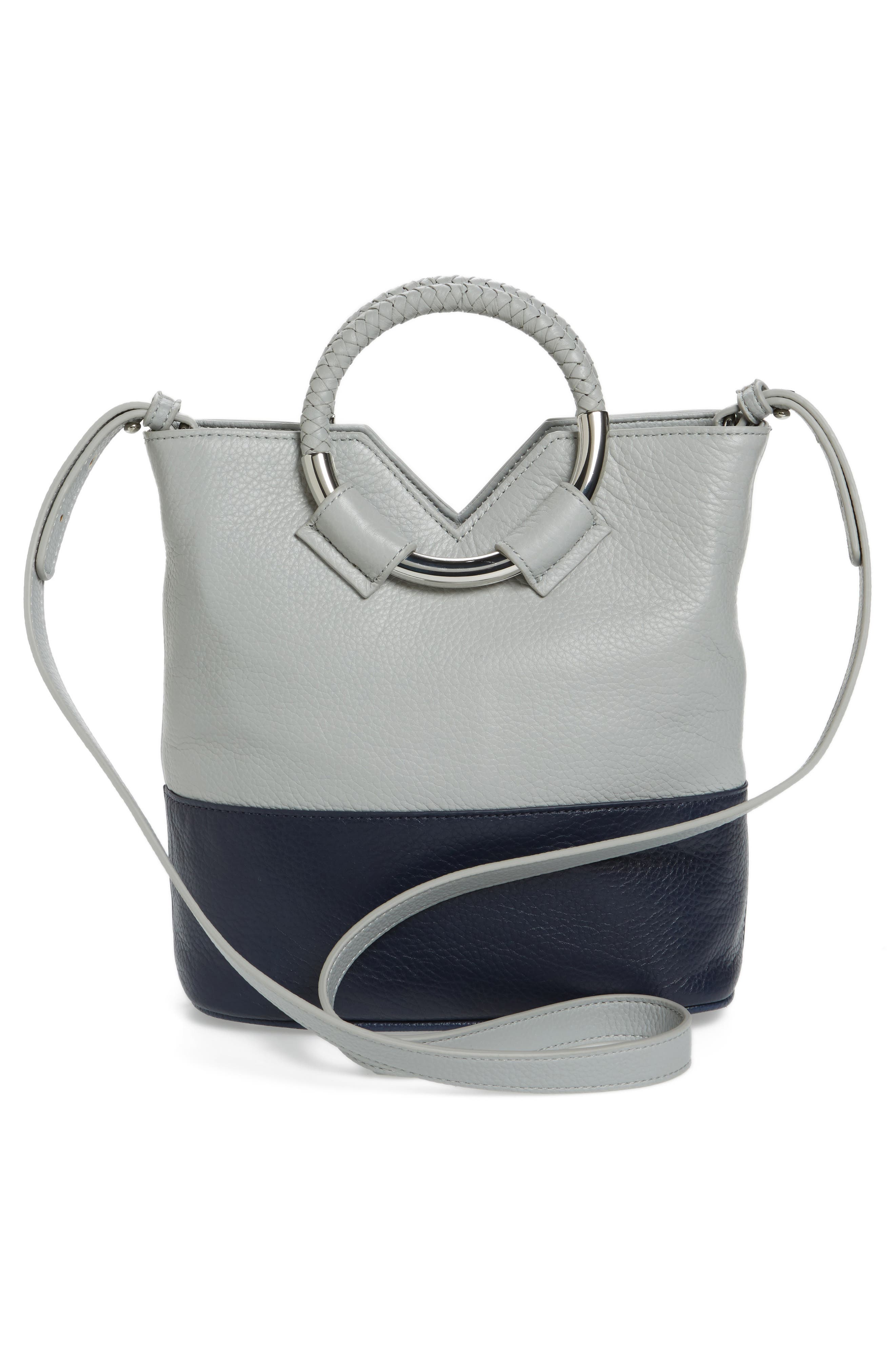 Small Elina Leather Crossbody Bag,                             Alternate thumbnail 3, color,                             Denim/ Ink Navy