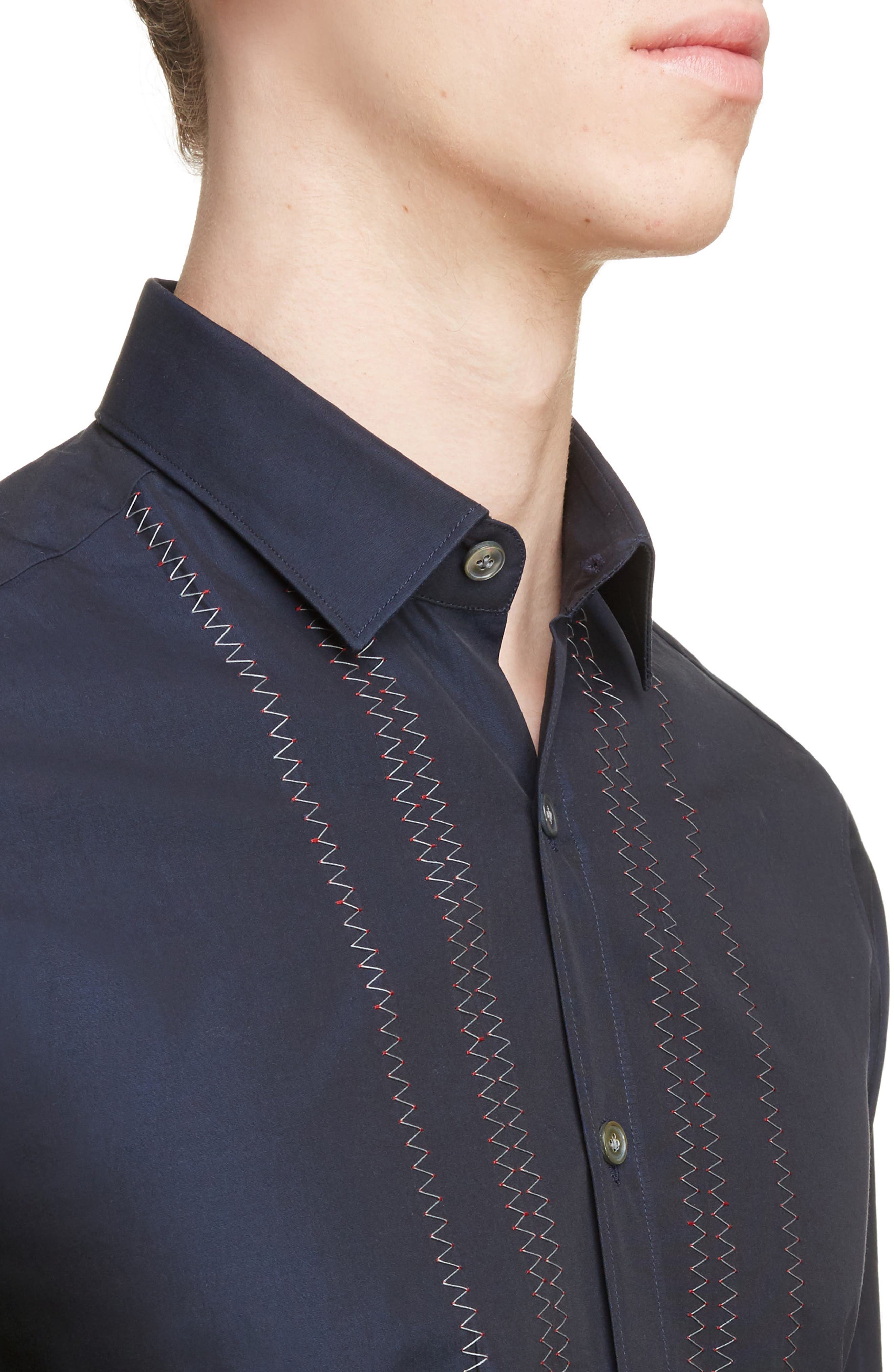 Zigzag Embroidered Cotton & Silk Sport Shirt,                             Alternate thumbnail 4, color,                             Navy