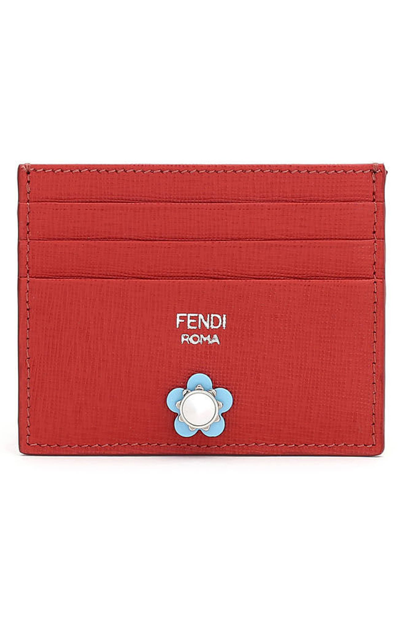 Alternate Image 1 Selected - Fendi Flowerland Elite Leather Card Case