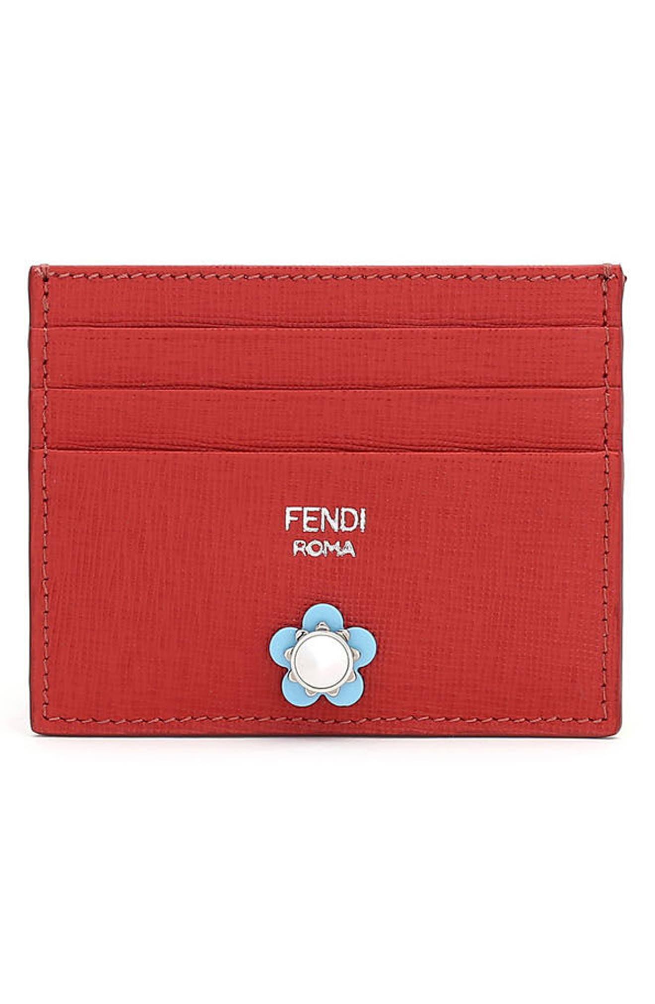 Main Image - Fendi Flowerland Elite Leather Card Case